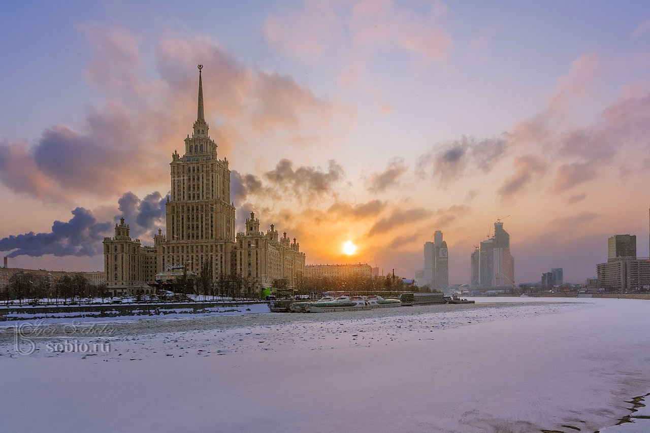 гостиница Украина, Москва, зима, вечер, закат, Москва-река, hotel Ukraine, Moscow, winter, evening, sunset, Moscow River,, Соболев Игорь