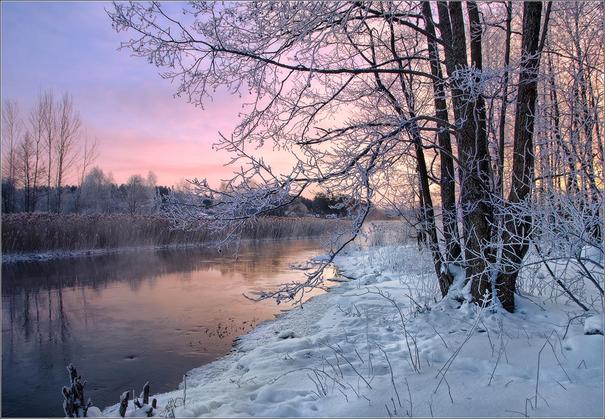 утро, рассвет, река, зима, беларусь, Andrew Kuzmin