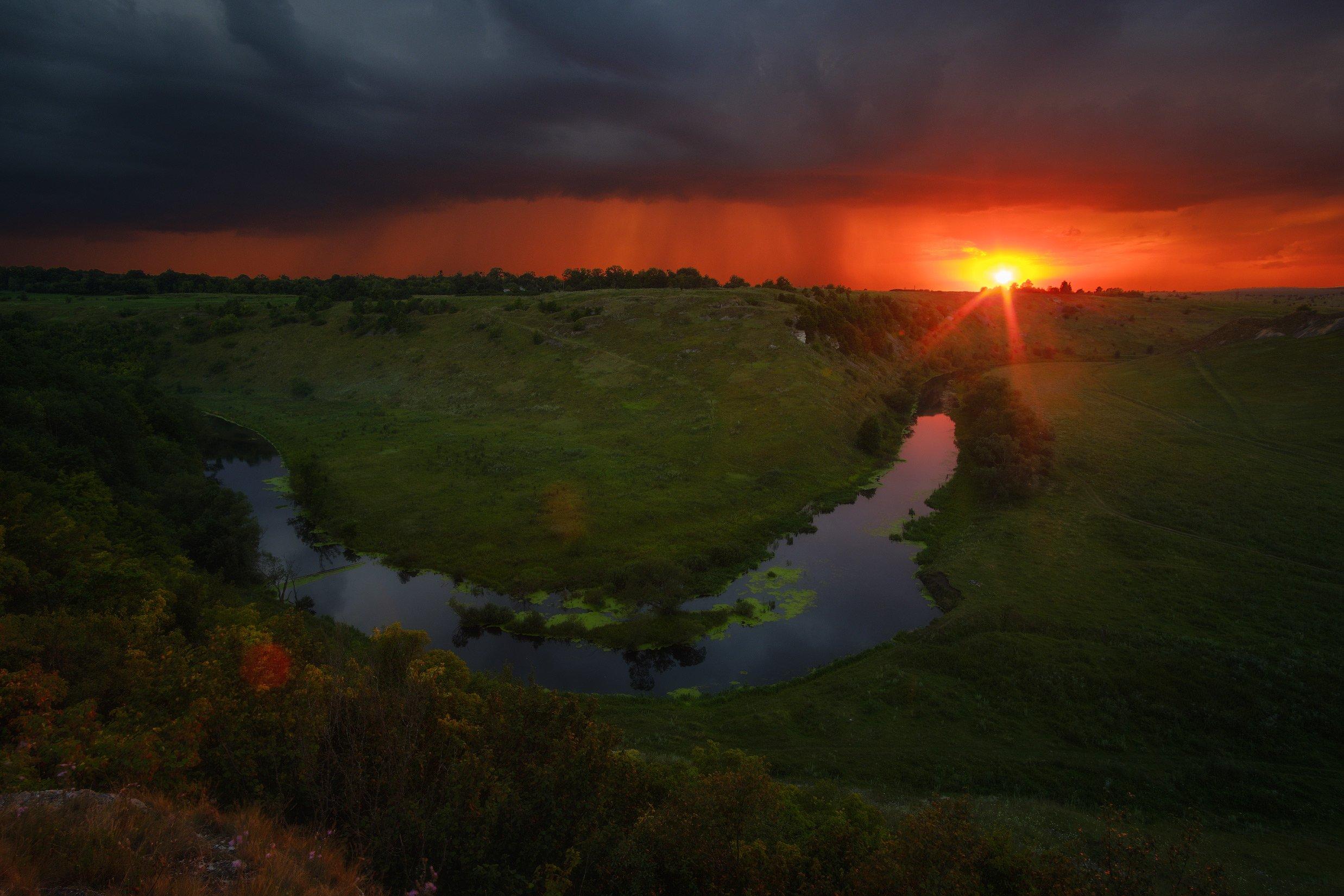 россия, липецкая область, ворголы, воргольские скалы, пейзаж, природа, гроза, закат, река, меандра, Оборотов Алексей