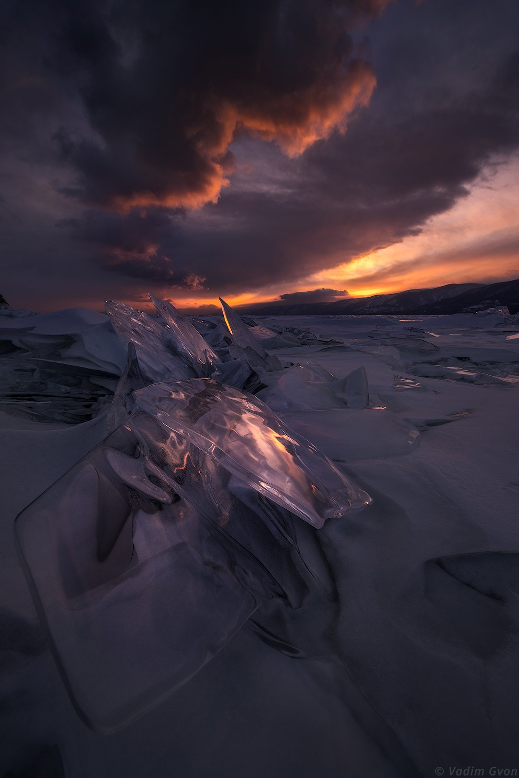 байкал, лед, закат, Вадим Гвон