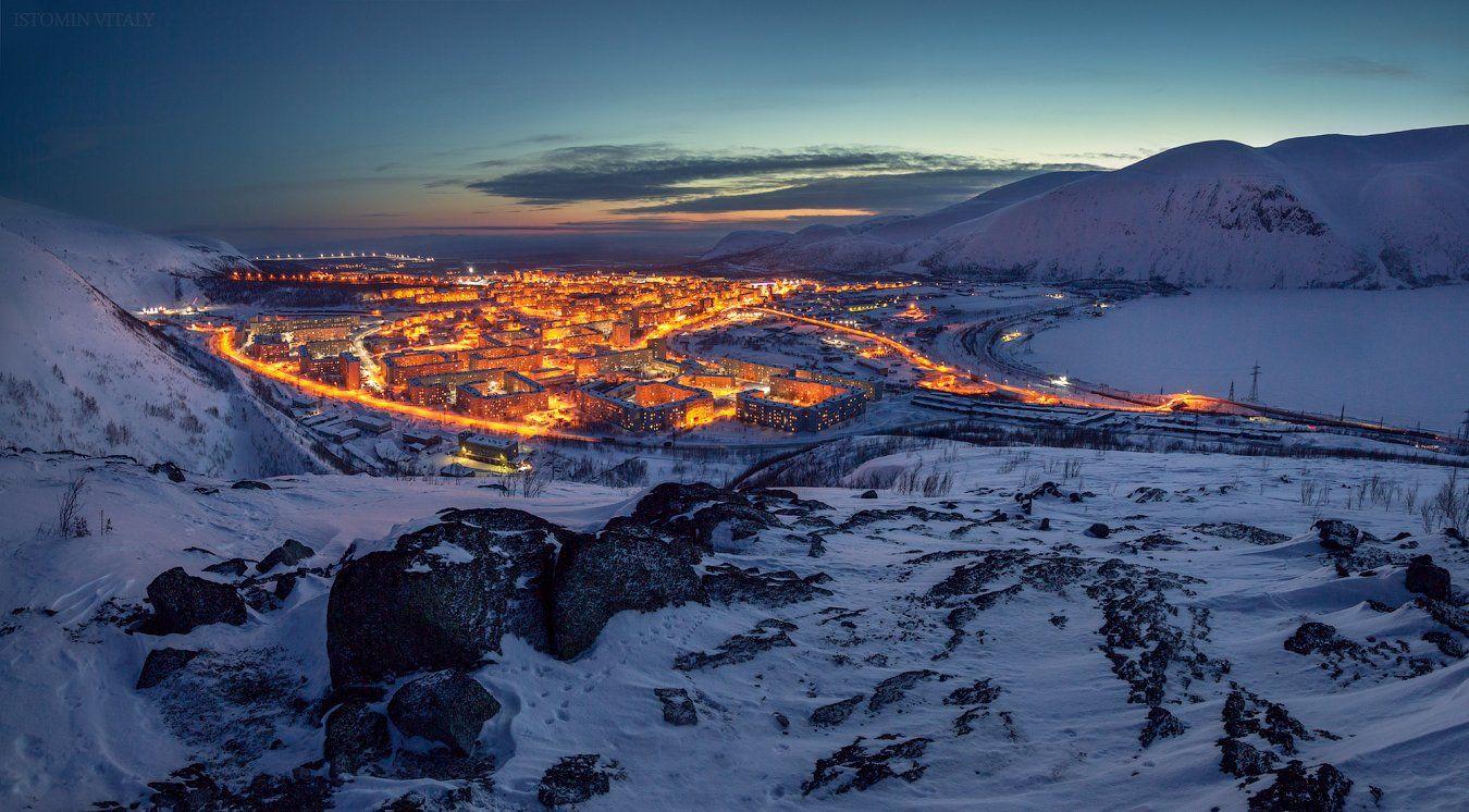 пейзаж,город,вечер,панорама,цвет,россия,хибины,перспектива,небо,закат, Истомин Виталий