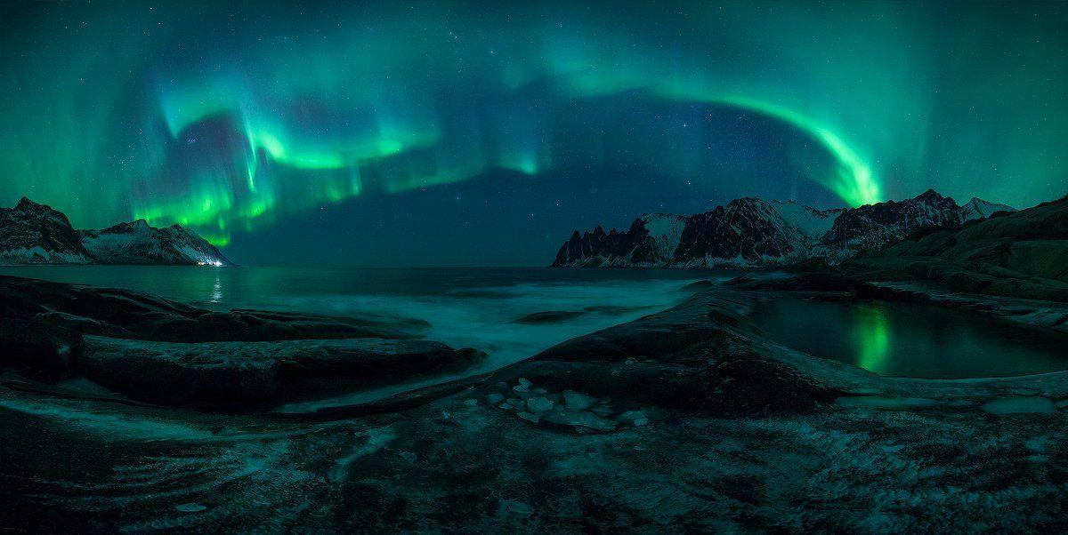norway aurora borealis night green landscape seascape , Roberto Pavic