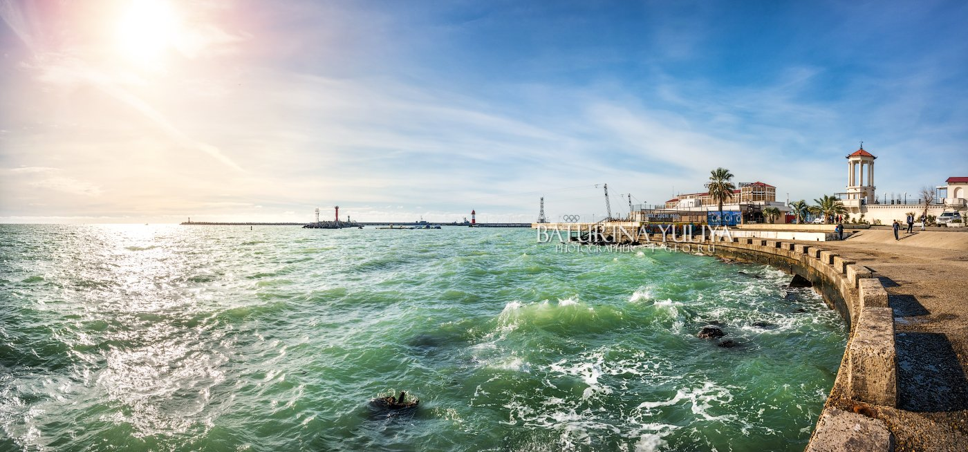 сочи, черное море, море, солнце, маяк, вокзал, вода, набережная, Юлия Батурина