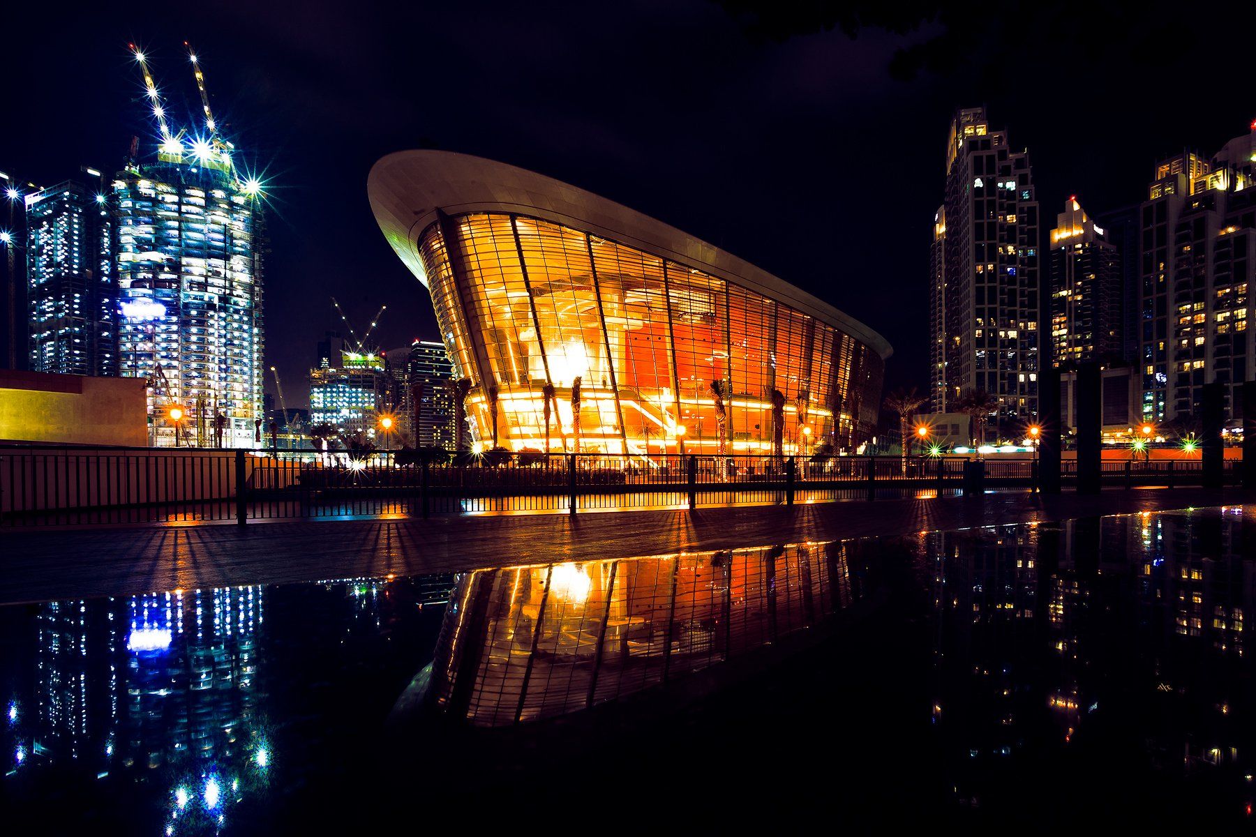 dubai, cityscape, night, opera, architecture, Руслан Болгов (Axe)