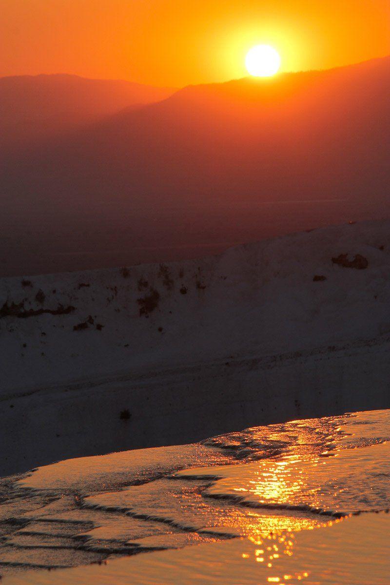 закат, солнце, вода, Памуккале, травертины, Сергей Козинцев
