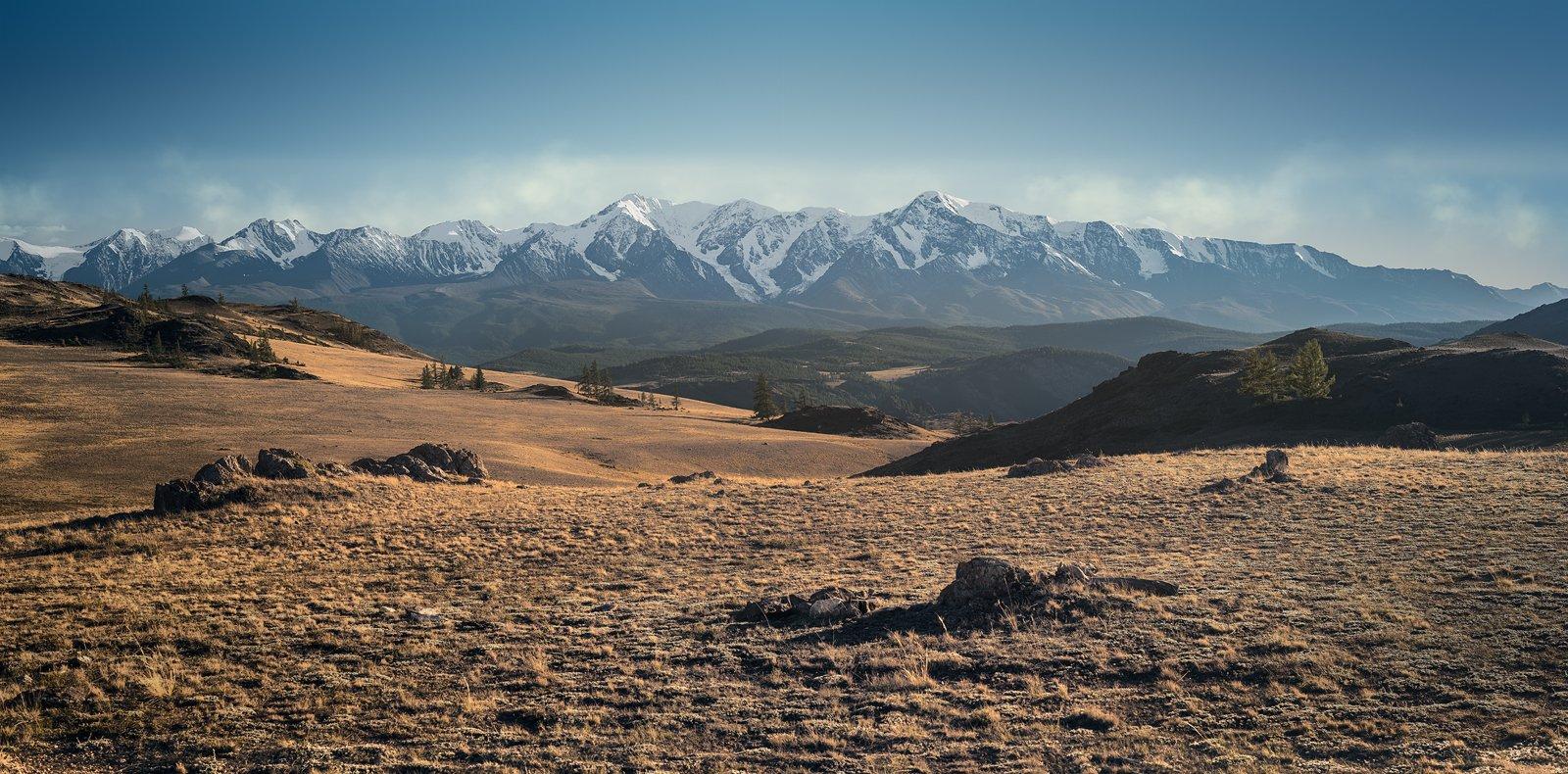 пейзаж, природа, горы, вершины, хребет, степь, долина, вечер, снег, ледники, камни, скалы, высокий, большой, красивая, Алтай, Сибирь, Курай, Чуйский, Дмитрий Антипов
