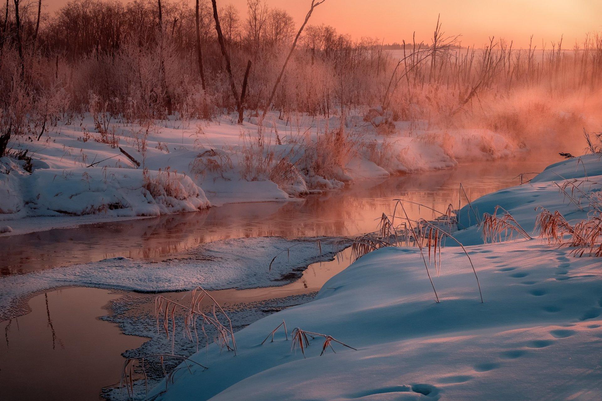пейзаж, зима, река, лед, снег, утро, рассвет, восход, мороз, холод, россошка, пермь, пермский край, Андрей Чиж