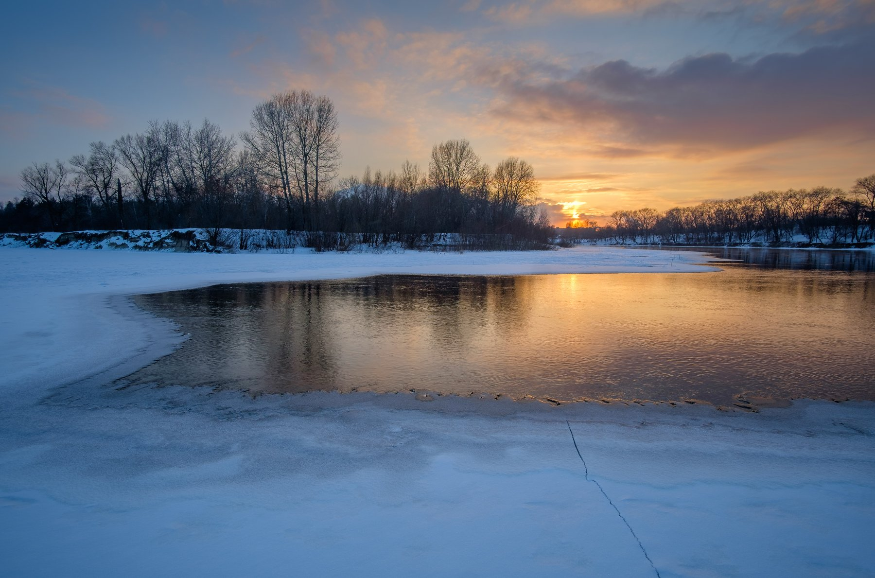 пейзаж,природа,река,зима,снег,мороз,landscape,nature,rivers,frosty,sunset, Александр Арендарь