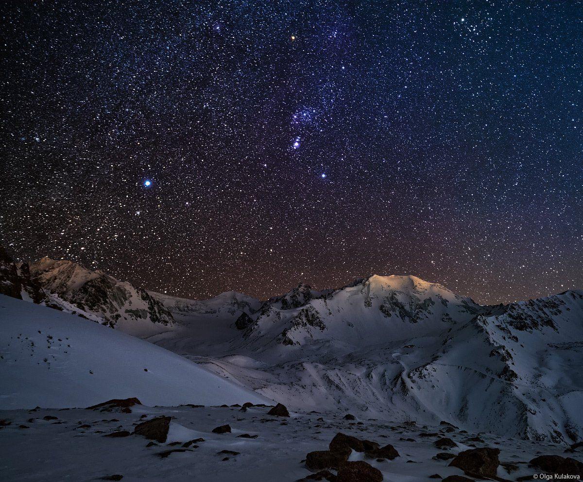 горы, ночь, ночное небо, орион, созвездие ориона, заилийский алатау, тянь-шань, альпинград, Ольга Кулакова