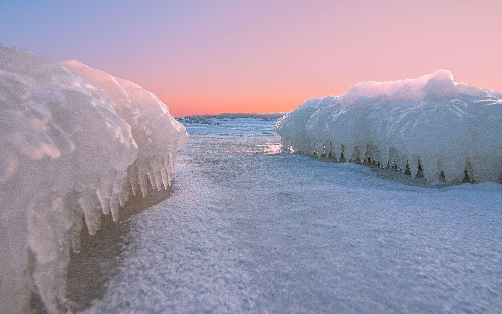 sunset,ice,winter,coast, Daiva Cirtautė
