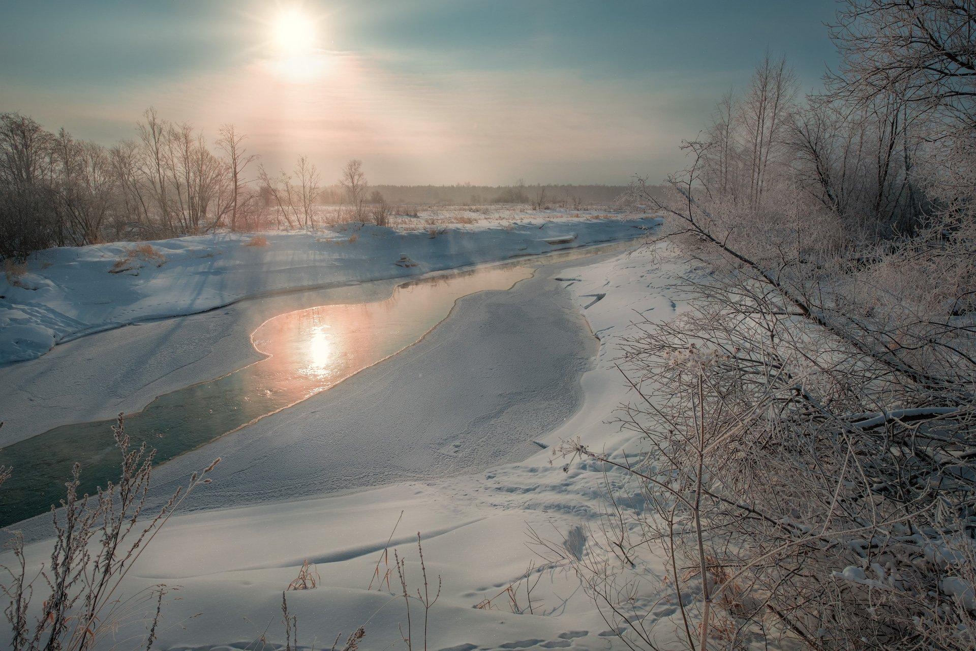 пейзаж, зима, река, лед, снег, утро, рассвет, восход, мороз, холод, усолка, пермь, пермский край, Андрей Чиж