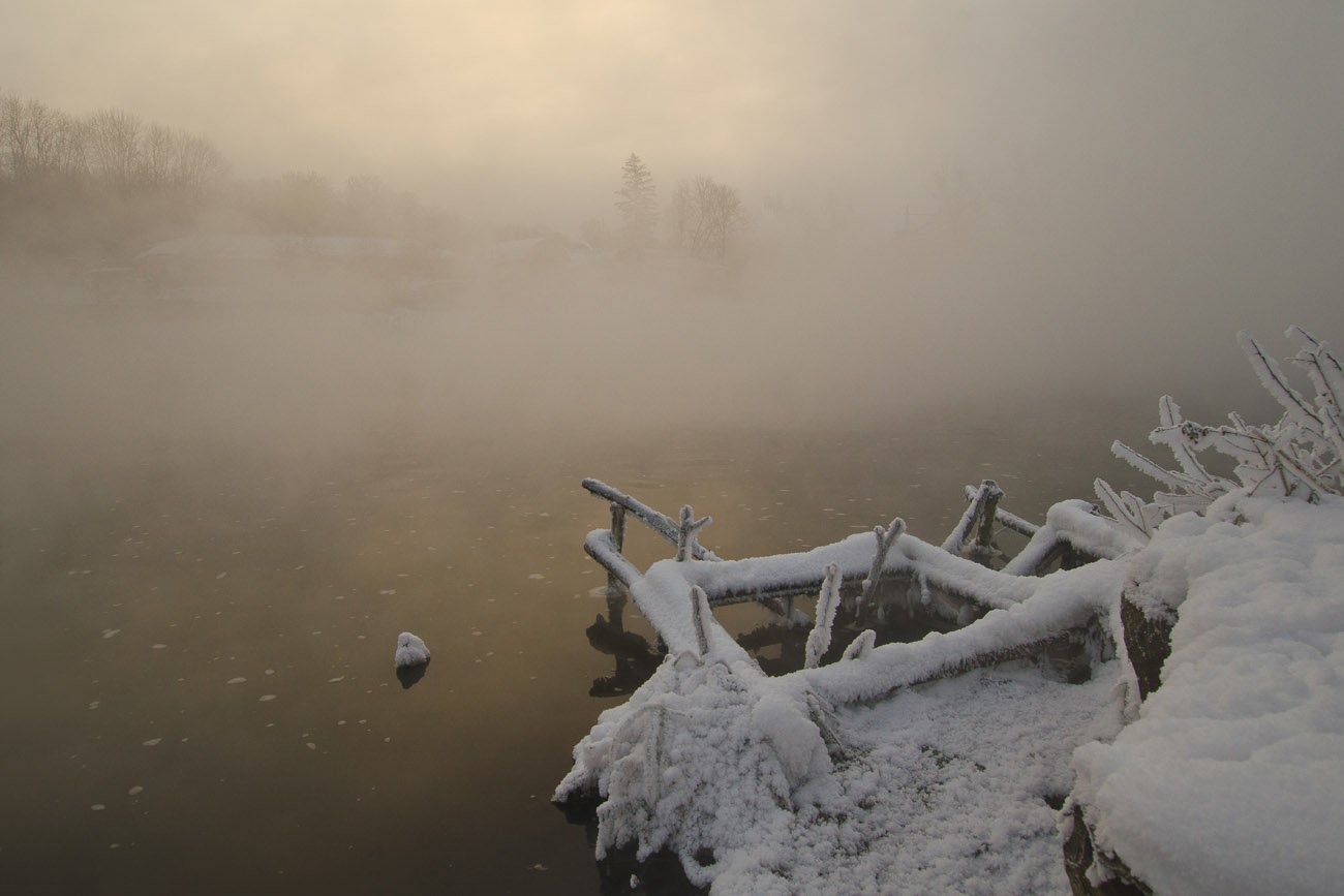 зима, озеро, горячка, Михаил Агеев