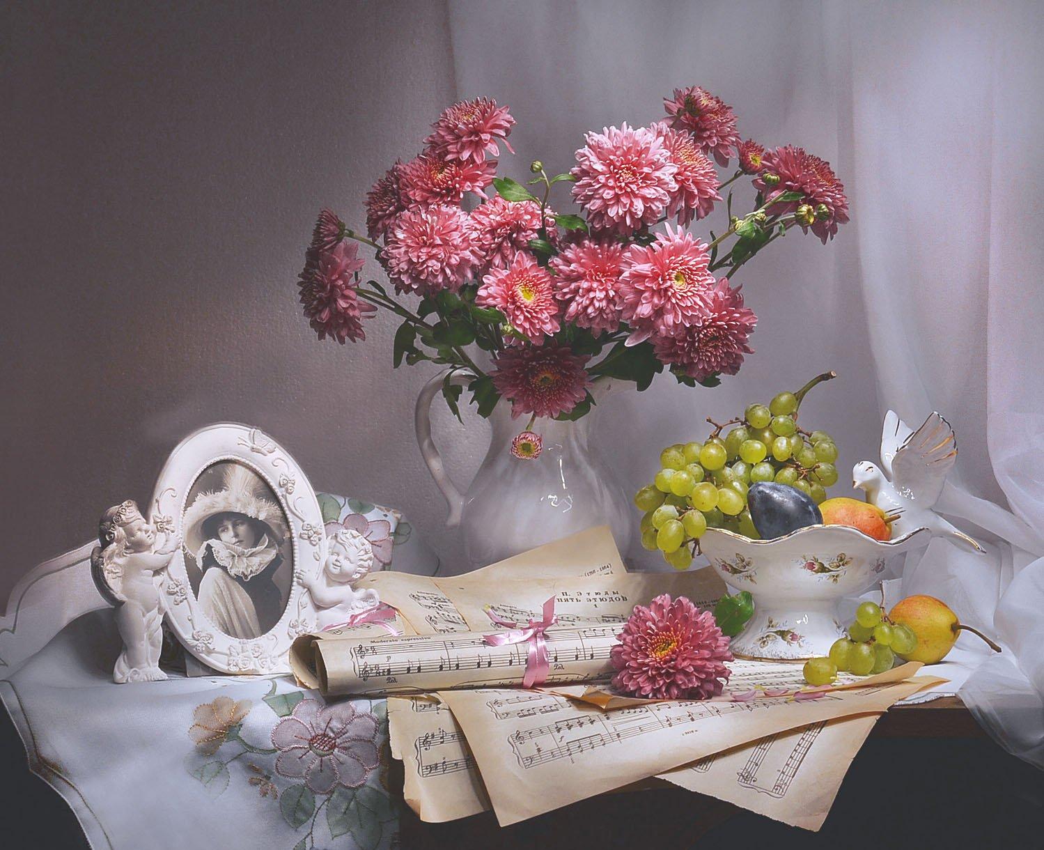still life, натюрморт , ноты, портрет, романс, стихи, фото натюрморт, хризантемы, цветы,, Колова Валентина