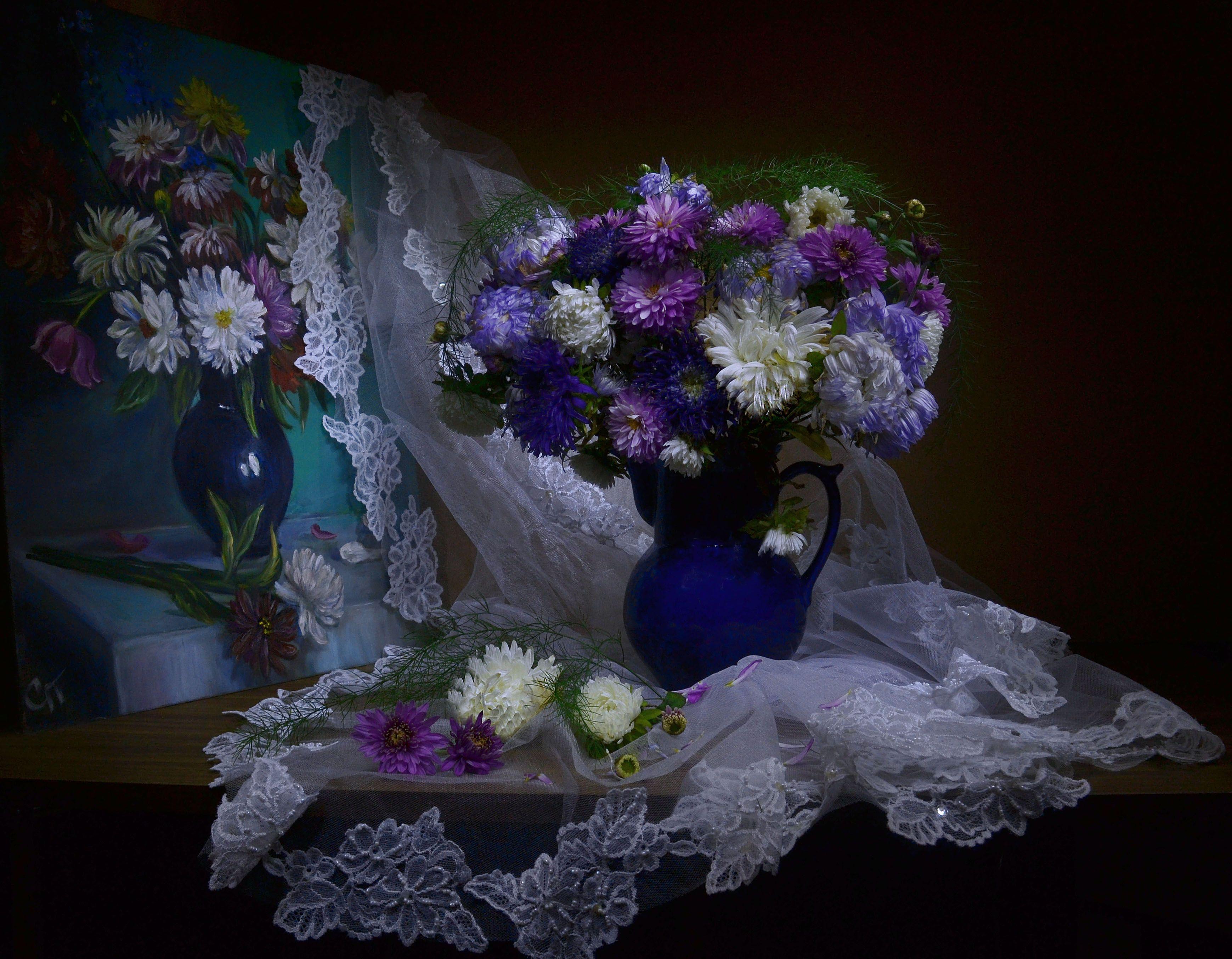still life, натюрморт , астры, живопись, картина маслом, осень,  сентябрь, фото натюрморт, хризантемы, цветы, эклектика, Колова Валентина