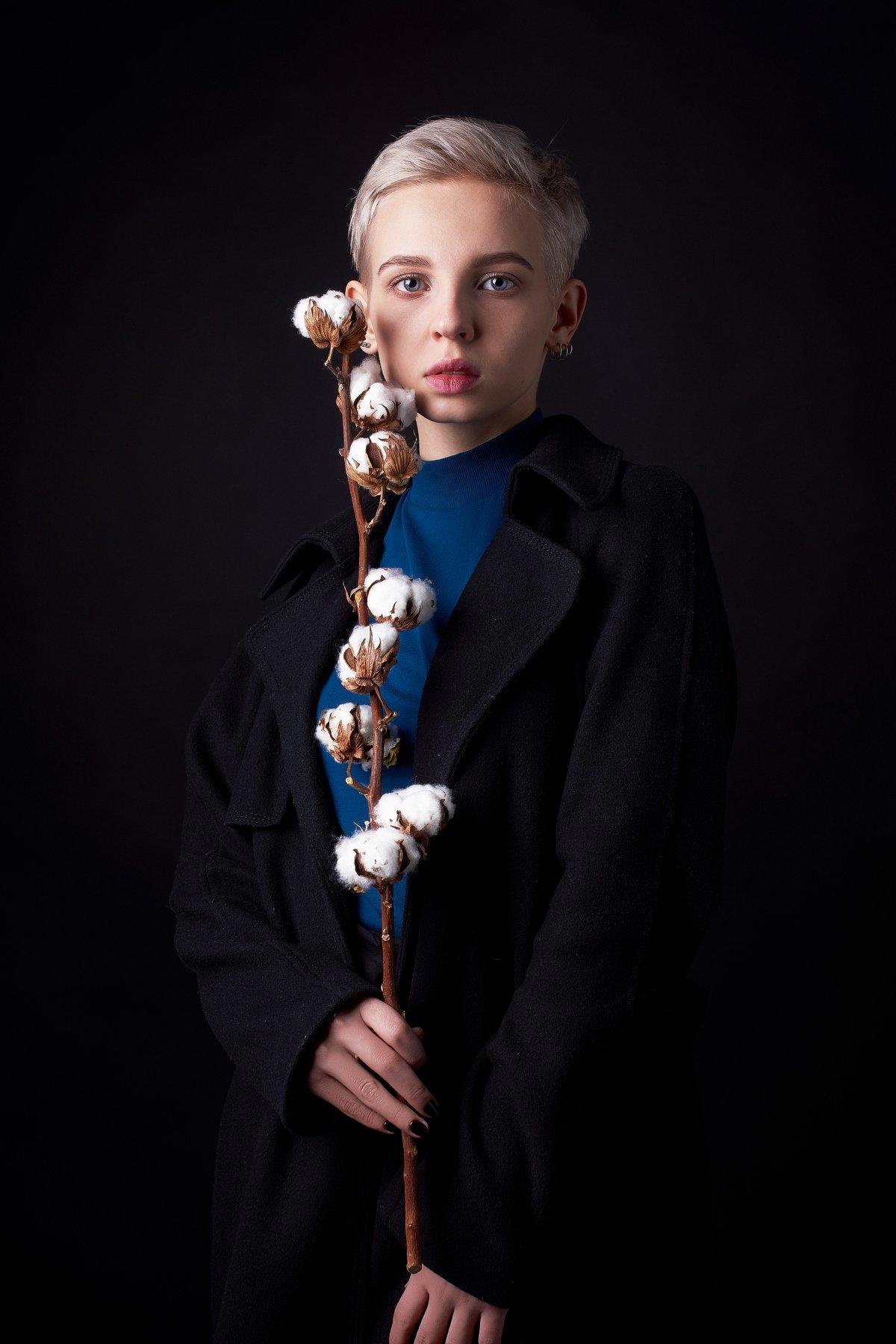 портрет, девушка, хлопок, глаза, blue eyes, portrait, low key, blonde, Наташа Высоцкая