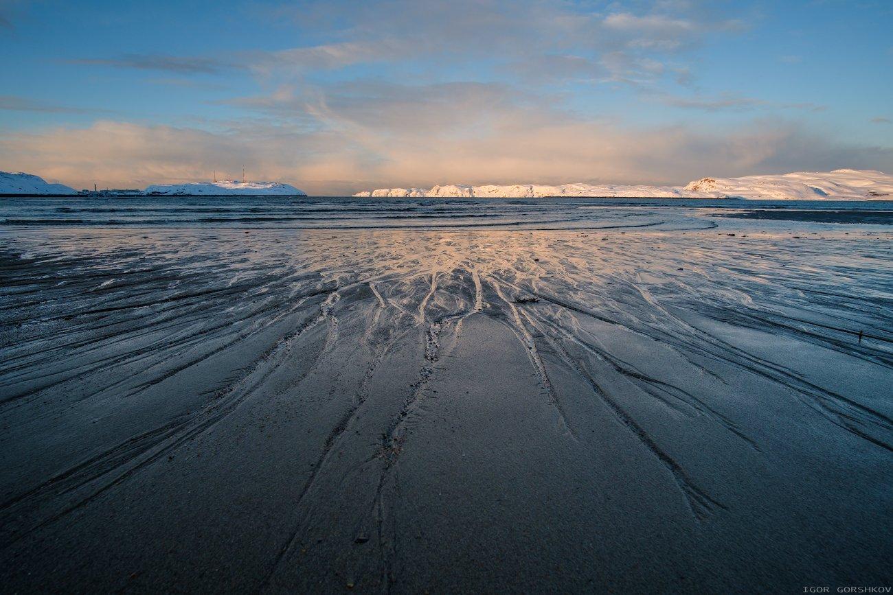 териберка,природа,пейзаж,север,закат,фактура,линии,пятна,пляж,песок,нервы,вечер,море,берег, Горшков Игорь