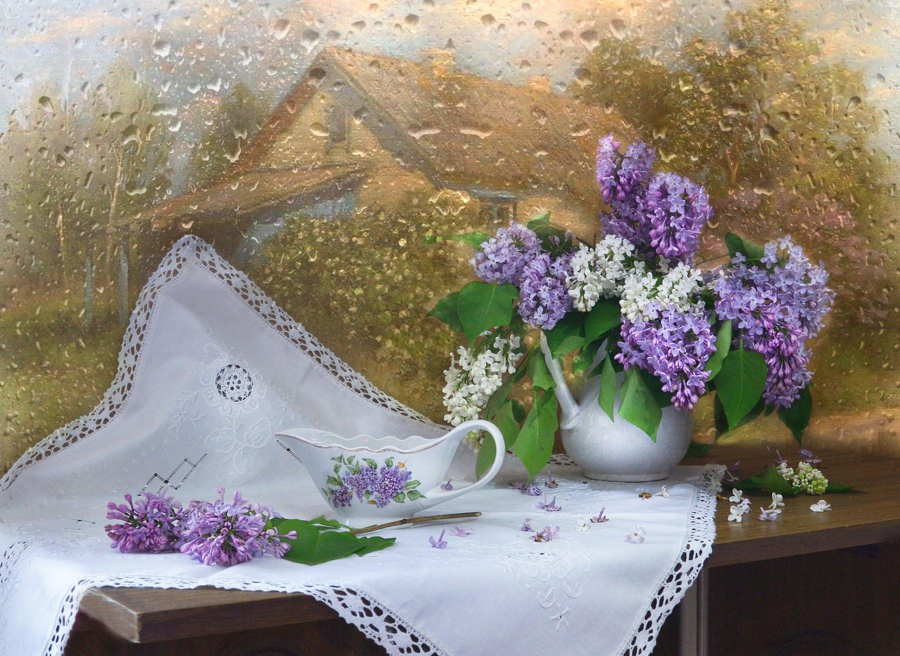 still life, натюрморт , июнь, летний дождь, лето, мокрое стекло, молочник, сиреневое счастье, сирень, стихи, фарфор, фото натюрморт, цветы, Колова Валентина