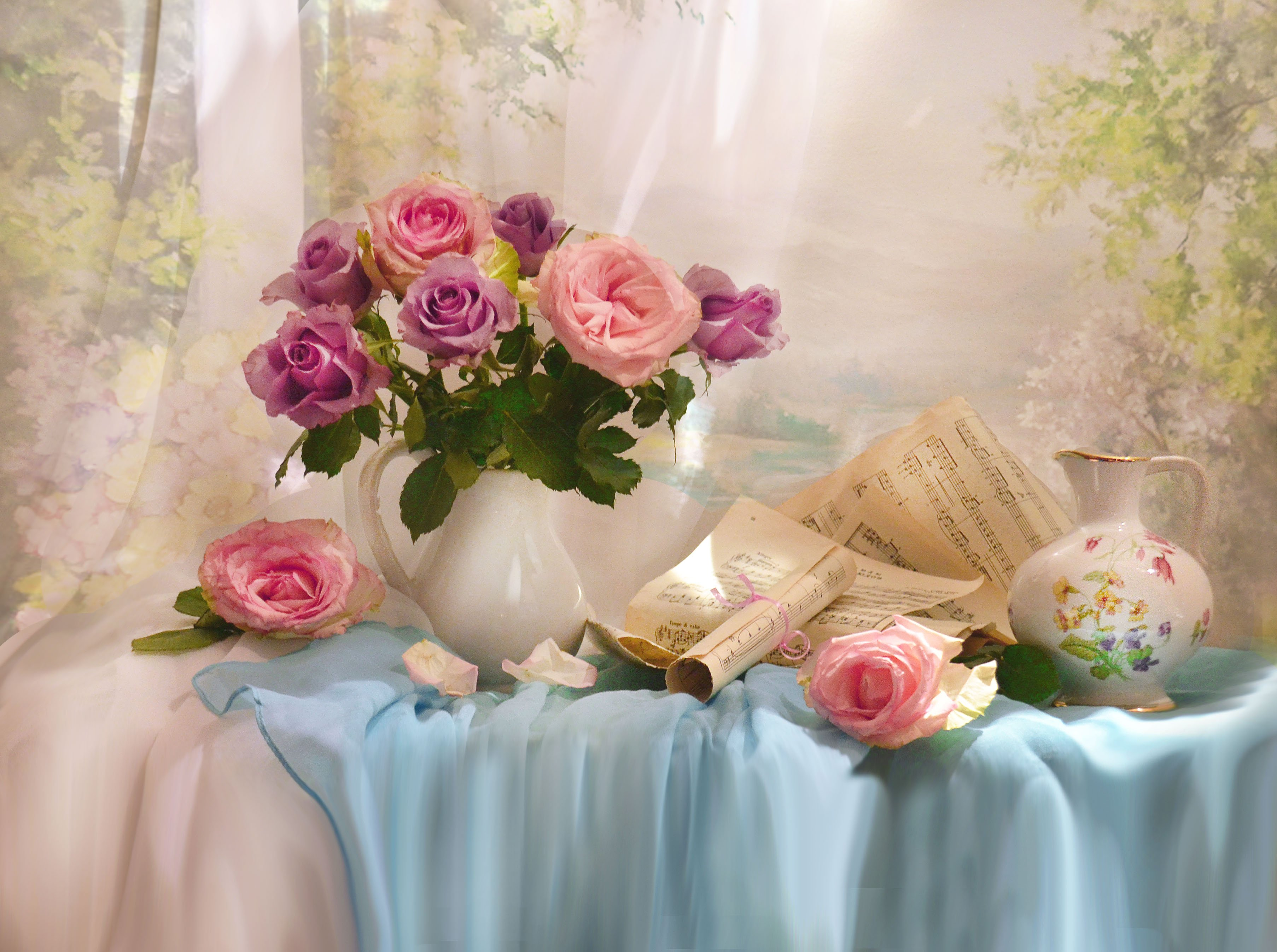 still life, натюрморт ,  весна,    розы,  стихи, фото натюрморт, цветы, ноты, фарфор, кувшин, Колова Валентина