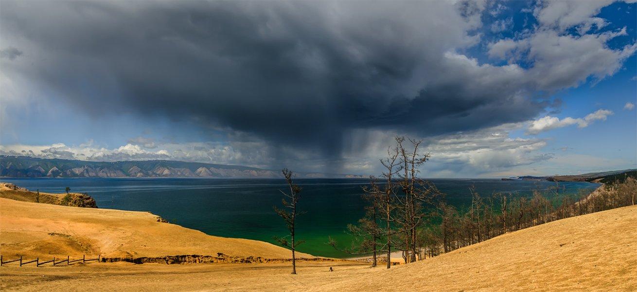 природа, пейзаж, озеро, байкал, сибирь, остров, ольхон, дождь, лето, панорама, Альберт Беляев