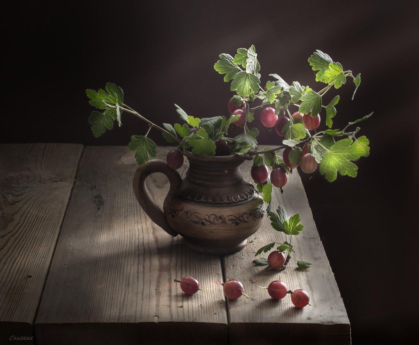 натюрморт,ягода,крыжовник,молочник,лето,вкус,свет, Инаида