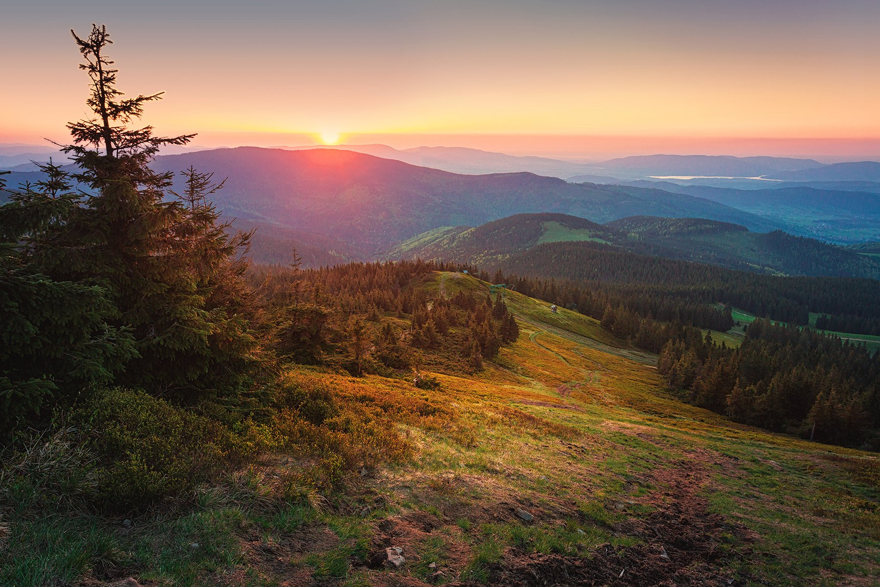 sunset, sunrise, Pilsko, Beskids, Poland, mountains, mountain, , Patrycja