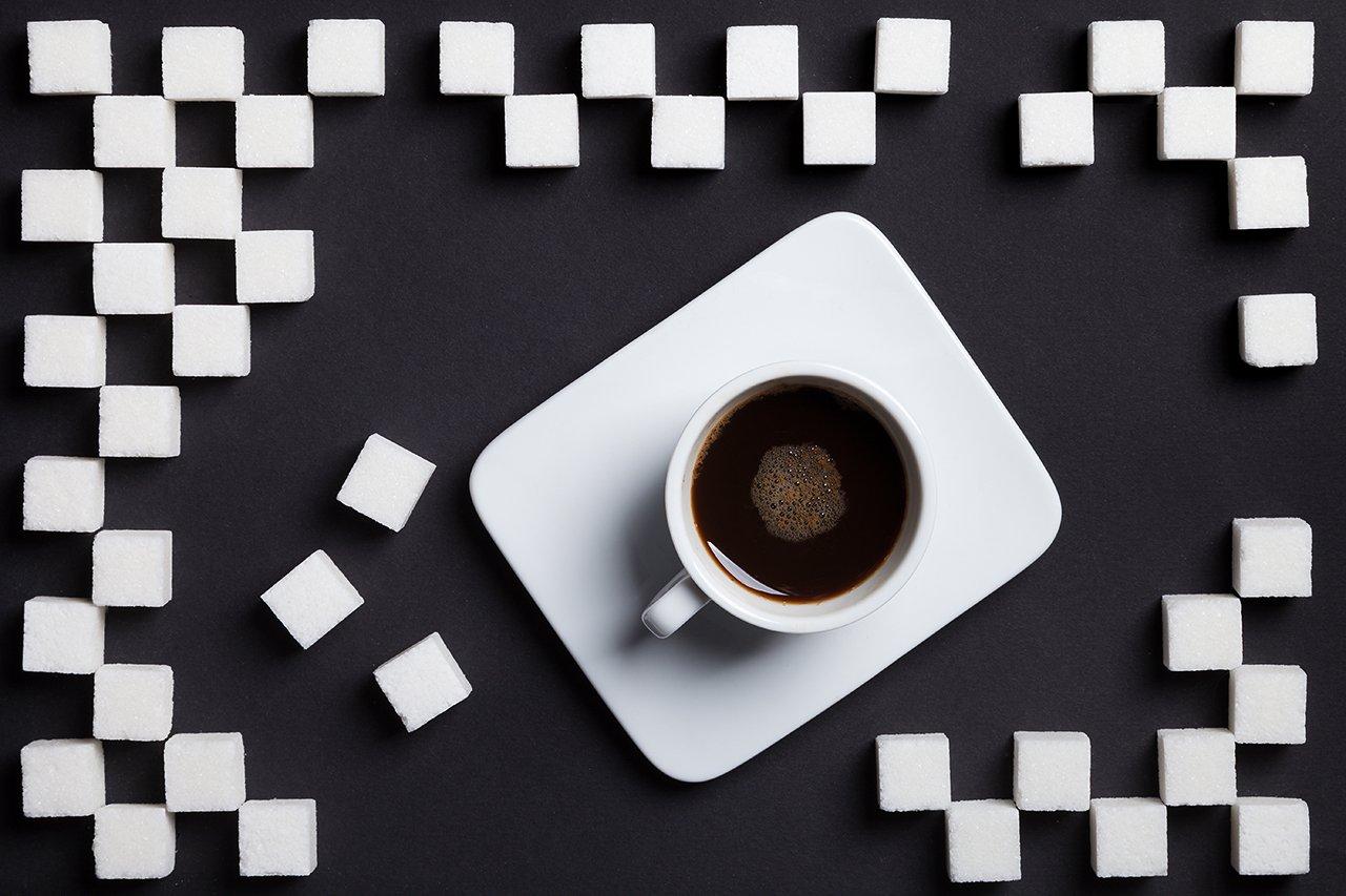кофе, сахар, рафинад, черно-белое, чб, , Комарова Дарья