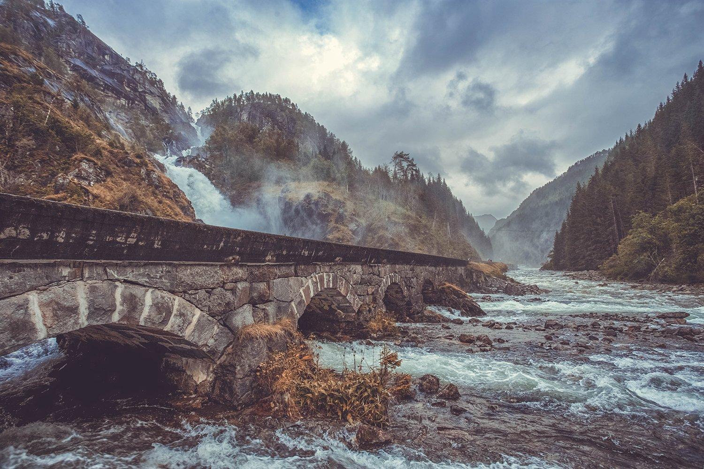 лотефоссен, норвегия, водопад, мост, река, дождь, Александр Смирнов