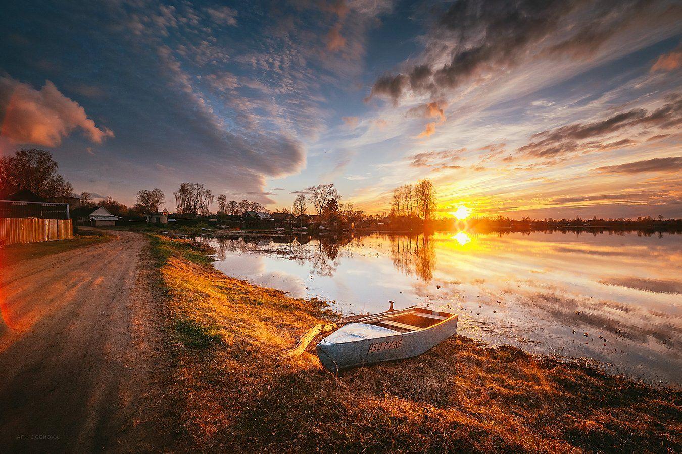 весна, закат, небо, облака, лодка, берег, Афиногенова Татьяна
