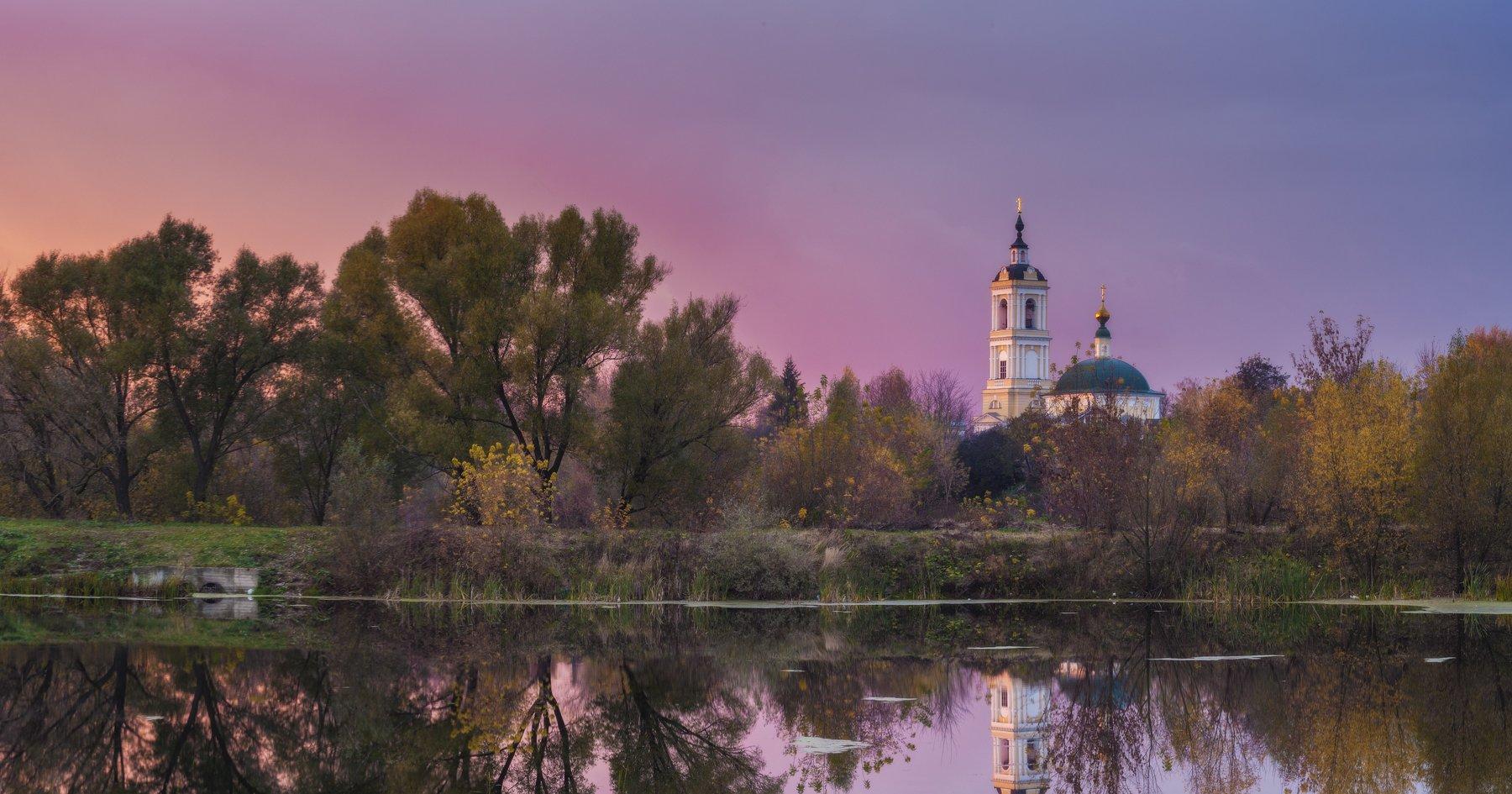 осень, храм, росиия, путешествие, природа, пейзаж, коломна, закат, небо, Павел Ныриков