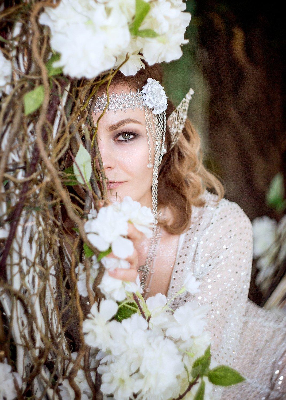 elf, girl, ear, эльф, девушка, гламур, белый, серебро, цветы, Skazochnica Ann