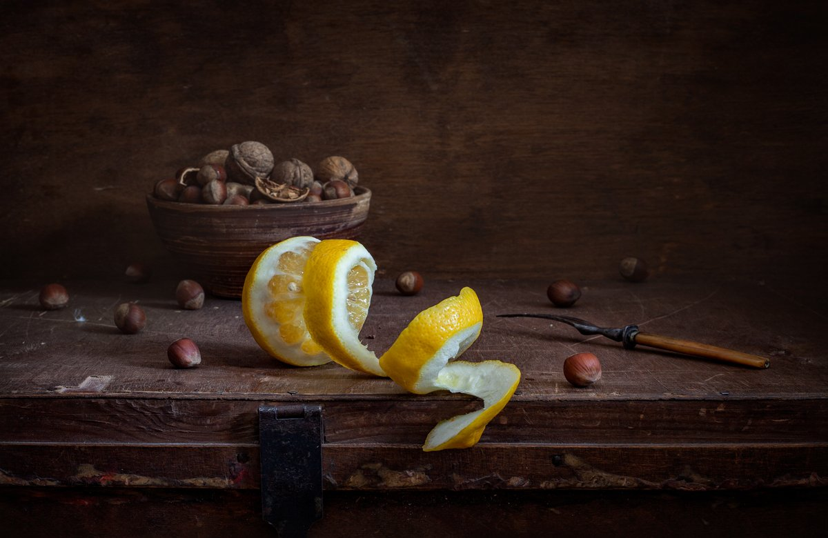 натюрморт, still life, орехи, евгений корниенко,evgeny kornienko, картина, stilleven, лимон, Евгений Корниенко