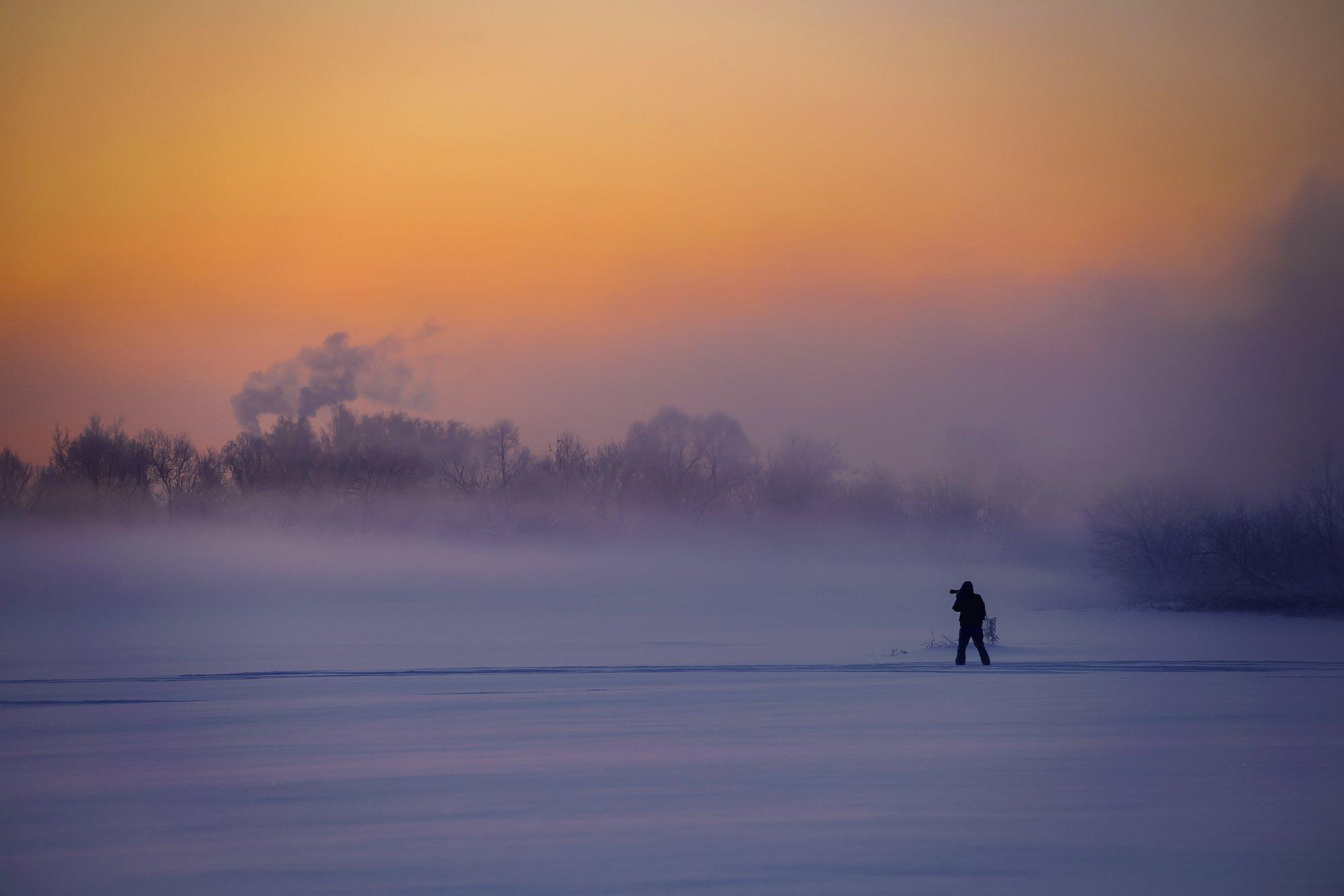 мороз, утро, туман, восход, Владимир Штыриков