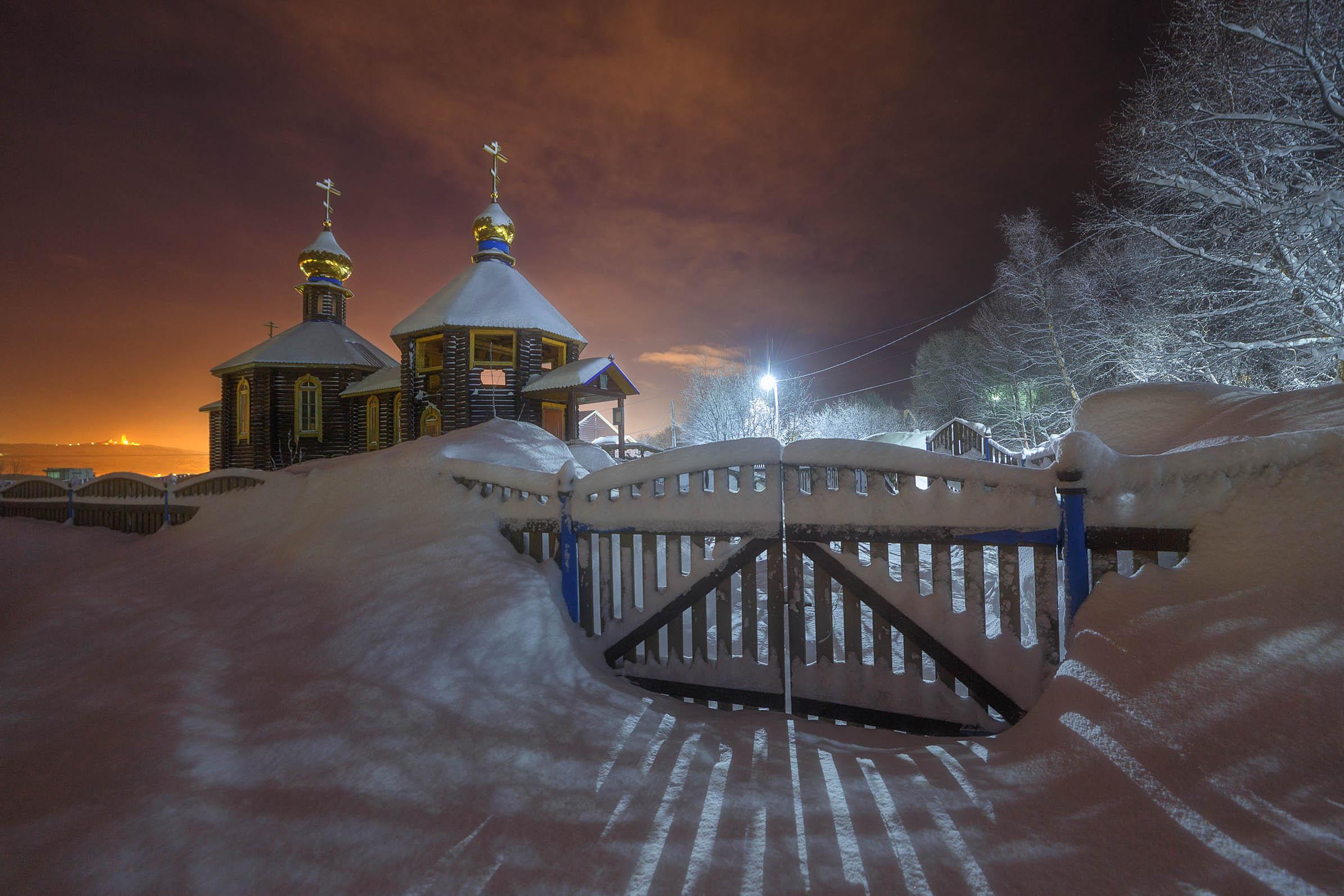 мурманск ночь снег зима храм церковь минькино, Пашеничев Александр