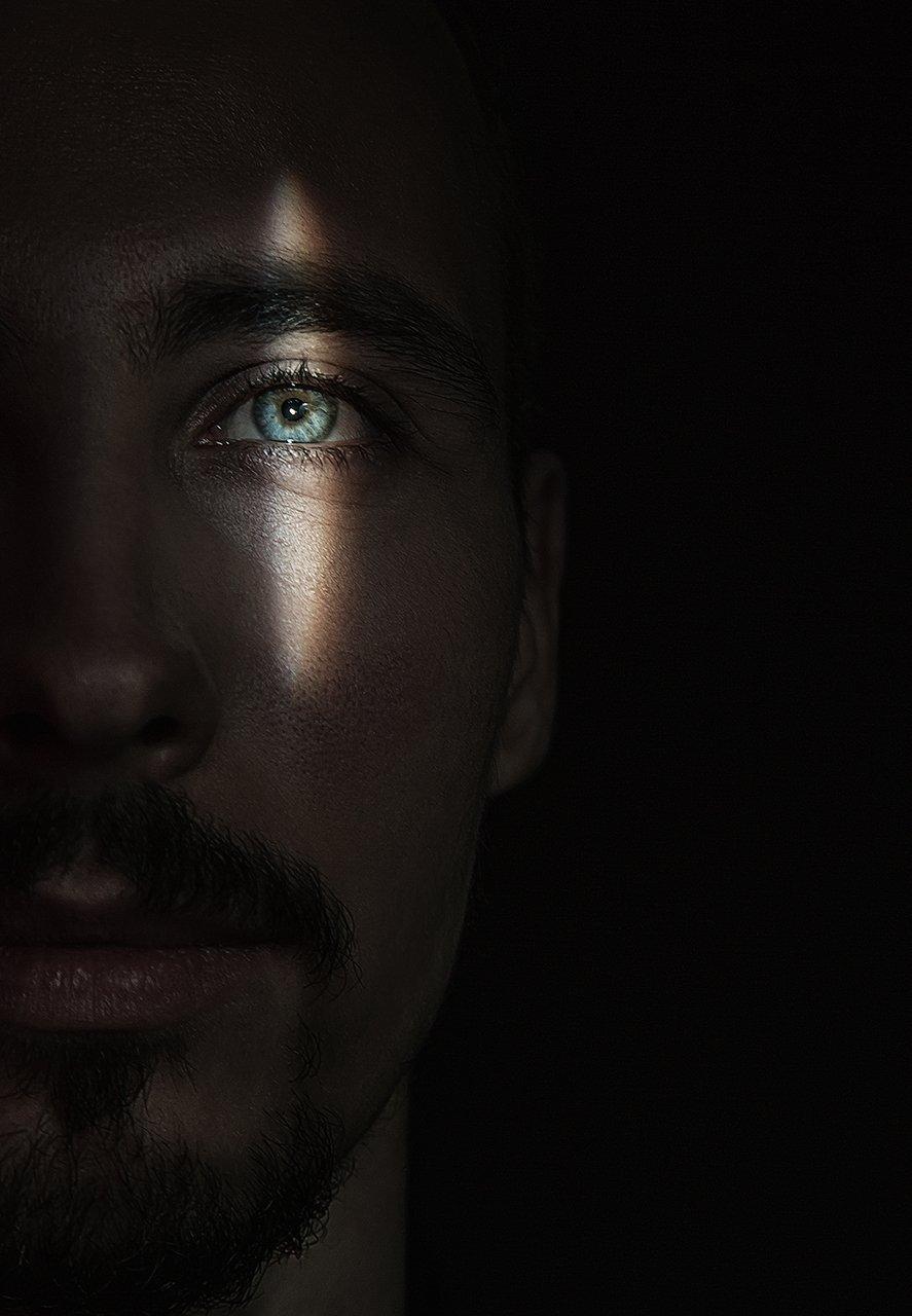 глаз, свет, мужской, портрет, половина лица, лицо, Комарова Дарья