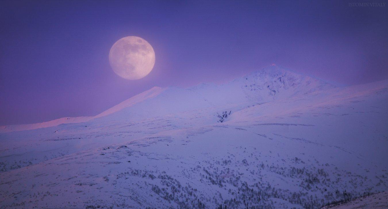 пейзаж,луна,горы,закат,небо,облачно,россия,снег,свет, Истомин Виталий
