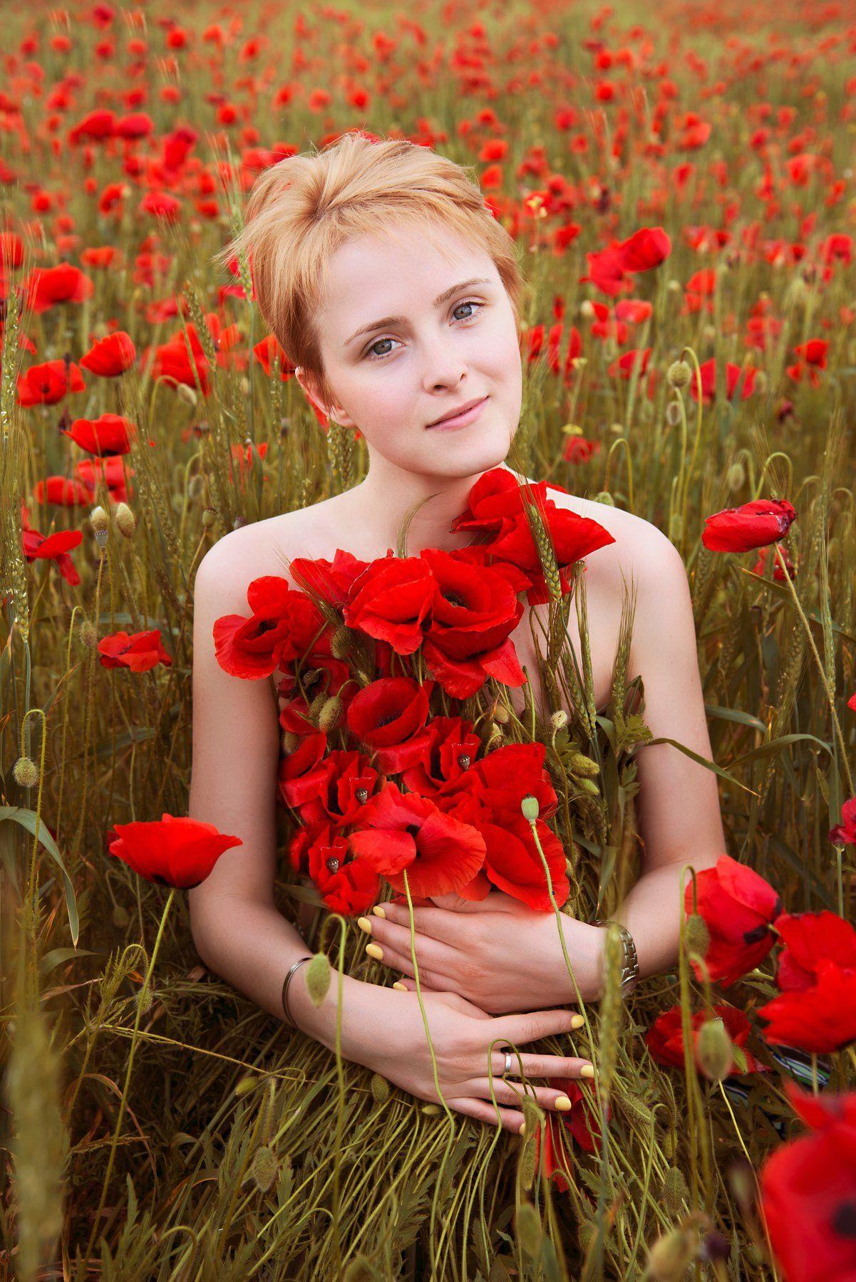 портрет, маки, девушка, крым, Анастасия Добровольская