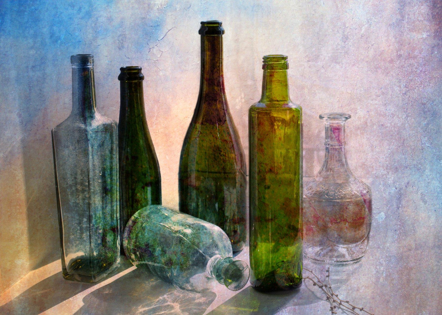 фото , цвет , натюрморт , бутылки, стекло , ветка , светлый тон, Федотов Вадим(Vadius)