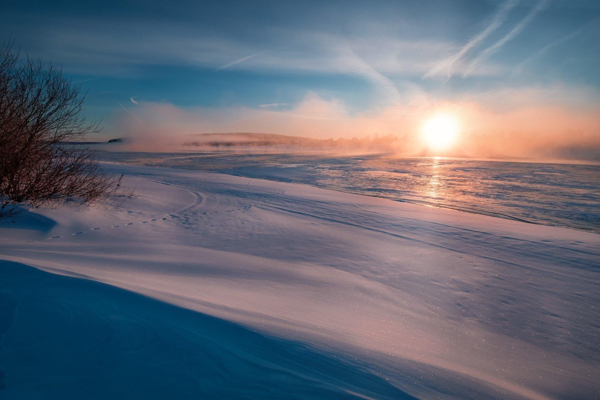 пейзаж, зима, река, туман, пар, лед, снег, утро, рассвет, восход, мороз, холод, волга, дубна, путешествие, Андрей Чиж