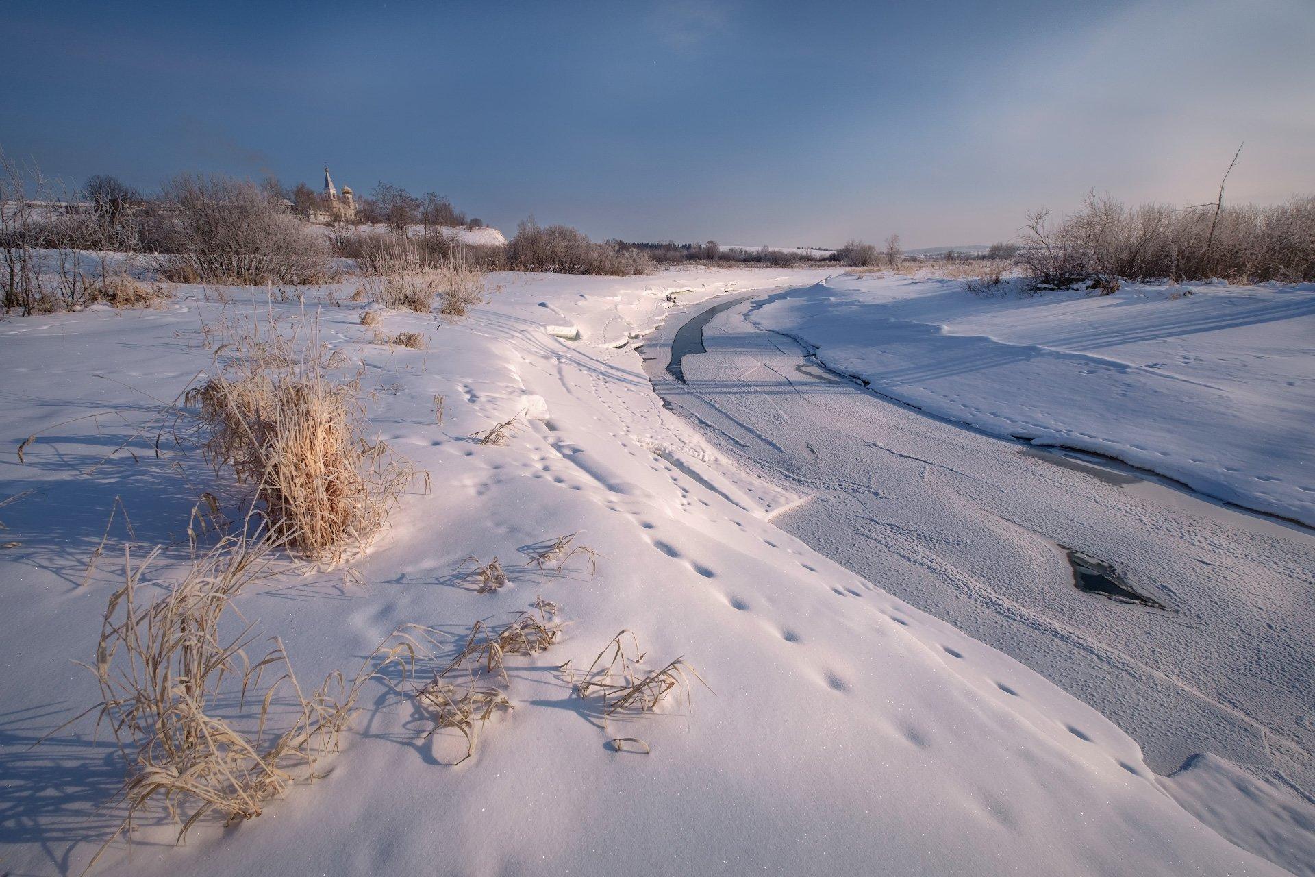 пейзаж, зима, река, лед, снег, утро, рассвет, восход, мороз, холод, усолка, пермь, пермский край, пустынь, храм, путешествие, Андрей Чиж