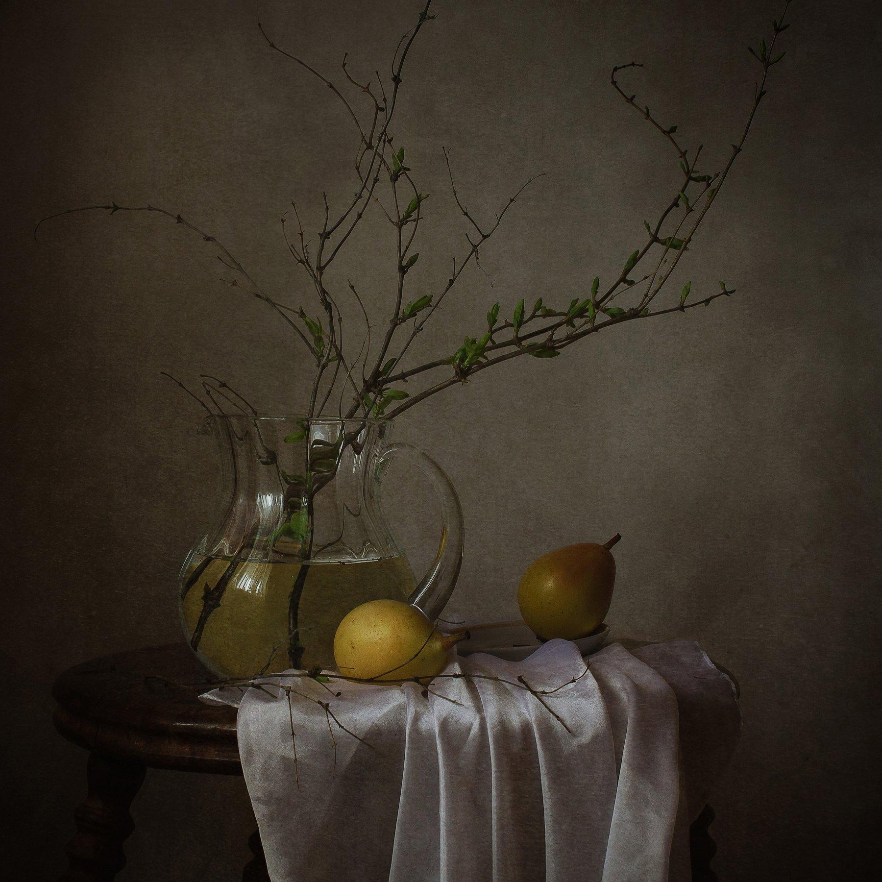 натюрморт, стекло, веточки, груши, Анна Петина