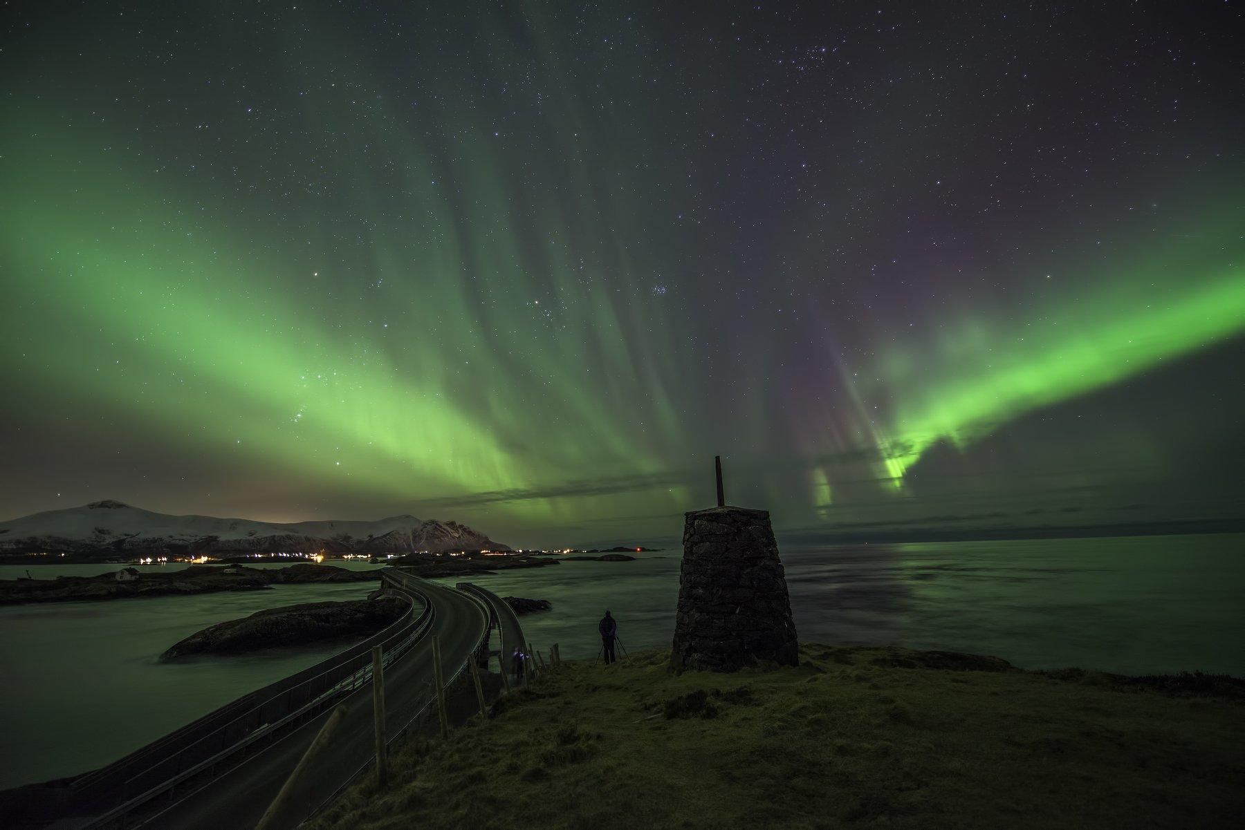 aurora, atlantic ocean road, atlanterhavsveien, norway, more og romsdal, night, landscape, stars, sky, green, bridge, Sylwia Grabinska