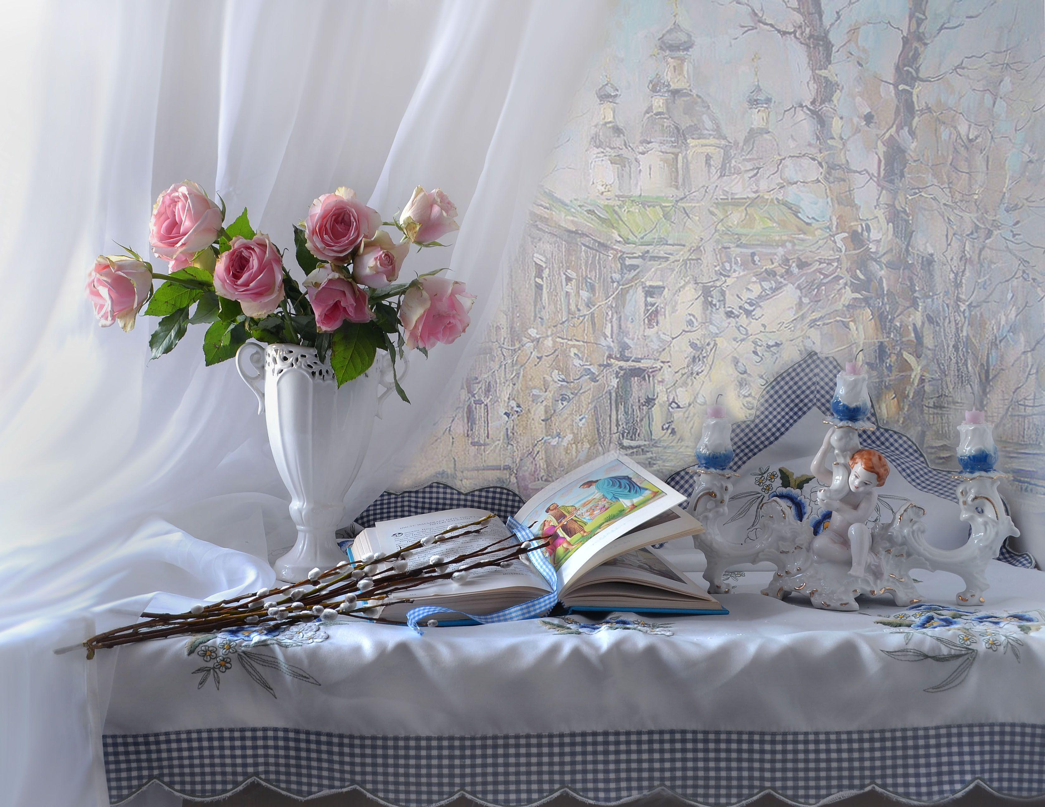 still life, натюрморт,библия, верба, вербное воскресение, весна, подсвечник, праздник, розы, фарфор, апрель,цветы, фото натюрморт, Колова Валентина