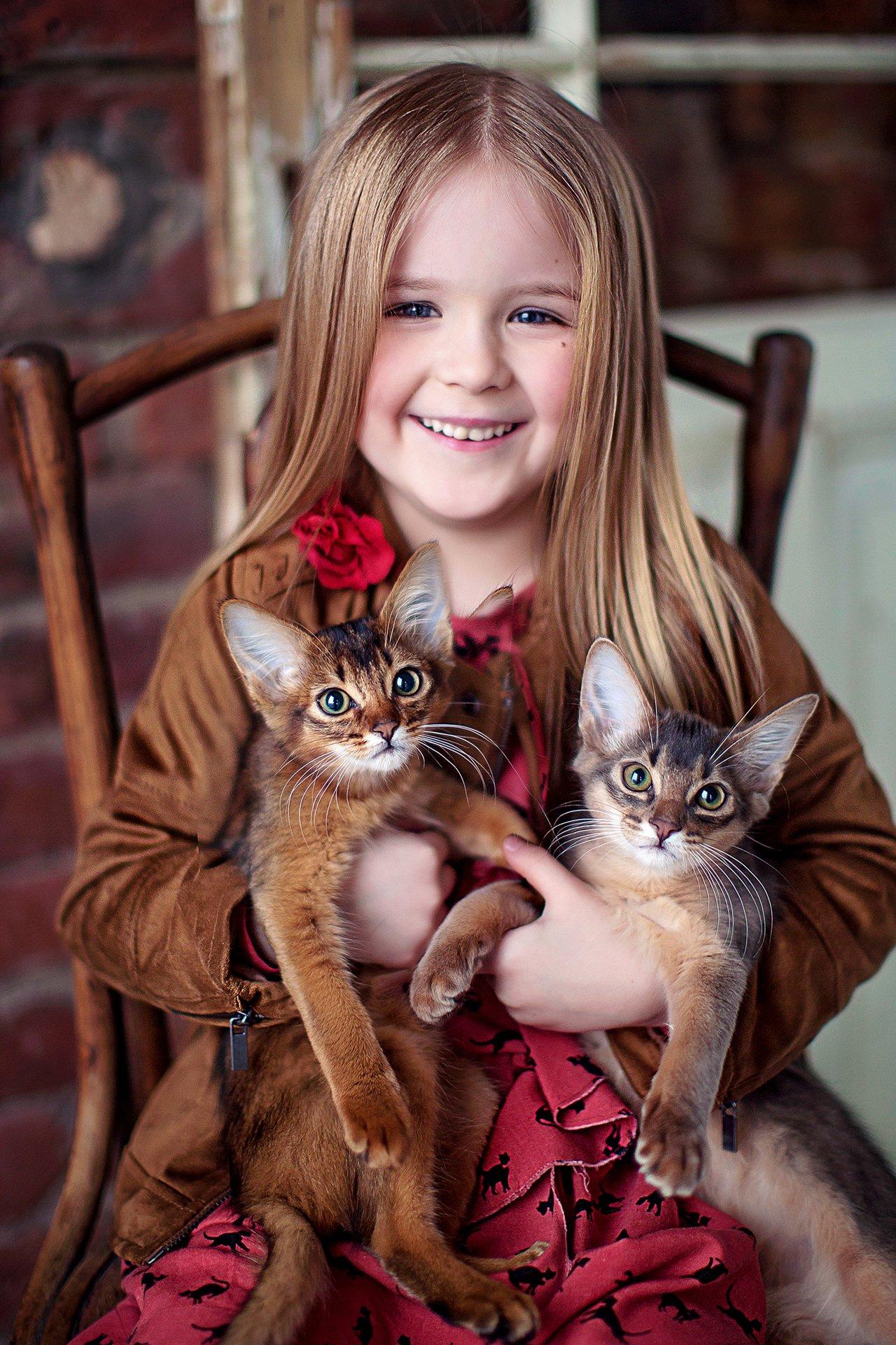девочка портрет котята, Полковникова Катерина