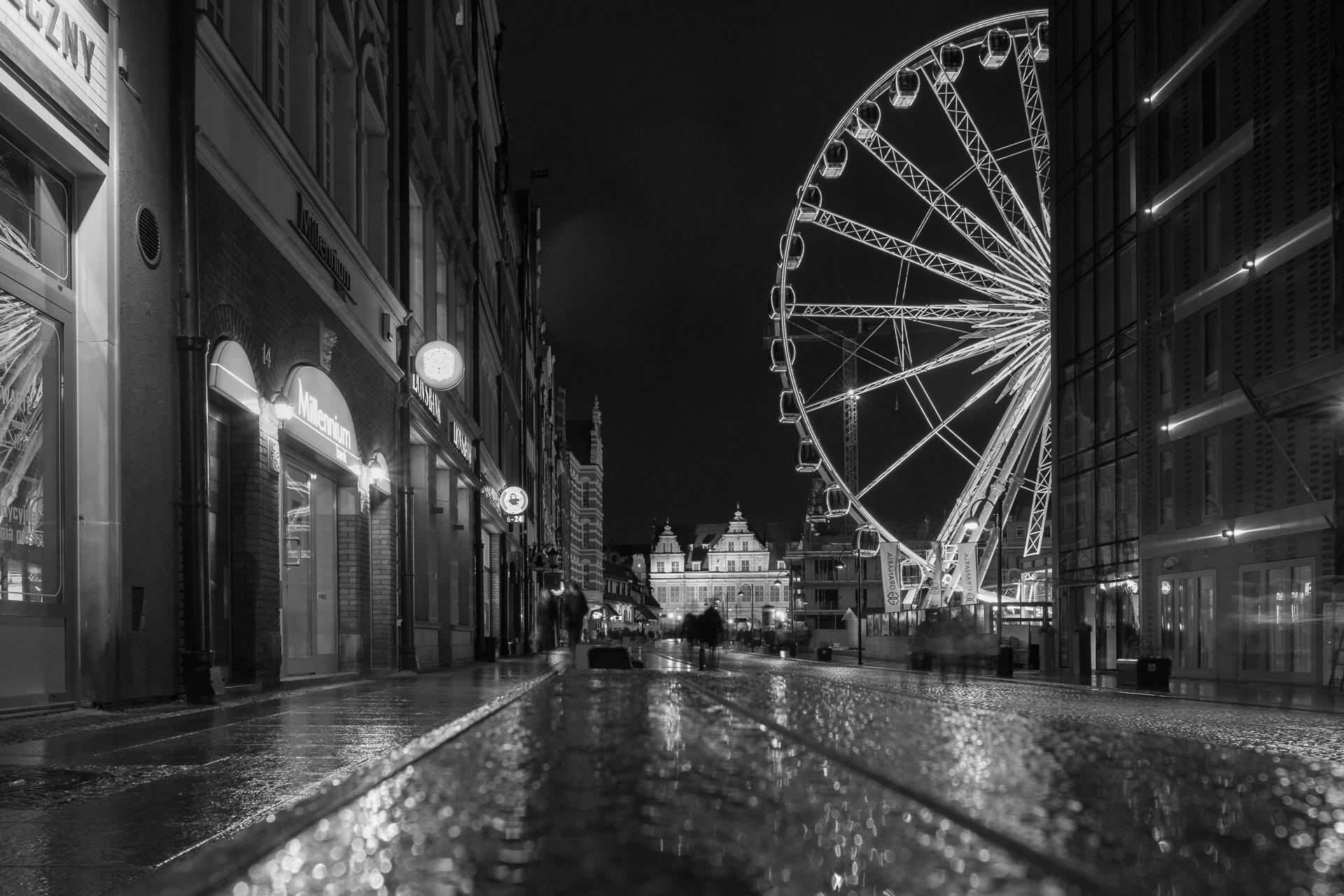 ночь, черно-белое, Гданьск, Польша, город, свет, Илья Беленький