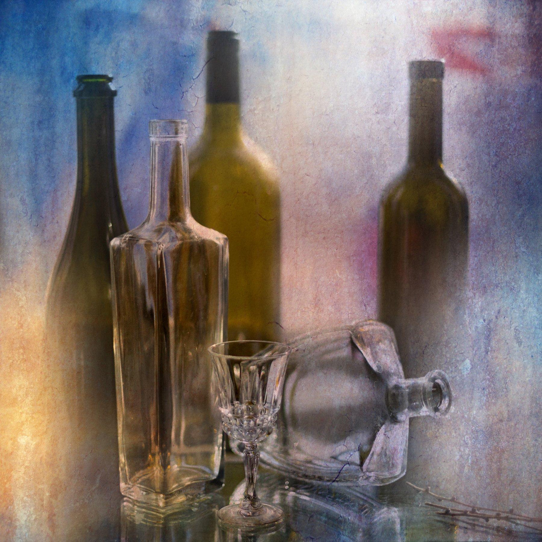 фото , цвет , натюрморт , бутылки , рюмка , стекло , ветка , светлый тон, Федотов Вадим(Vadius)