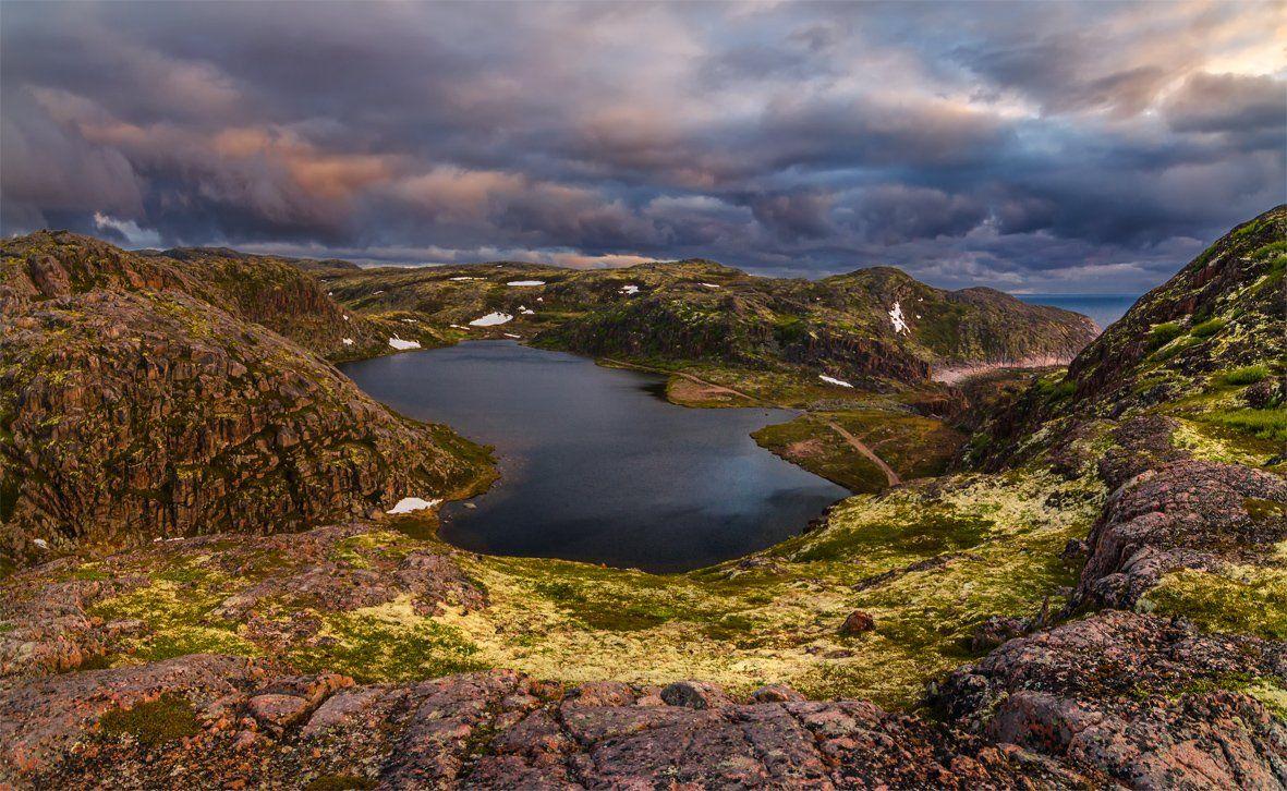 природа, пейзаж, кольский, север, море, лето, небо, закат, вечер, озеро,, Альберт Беляев