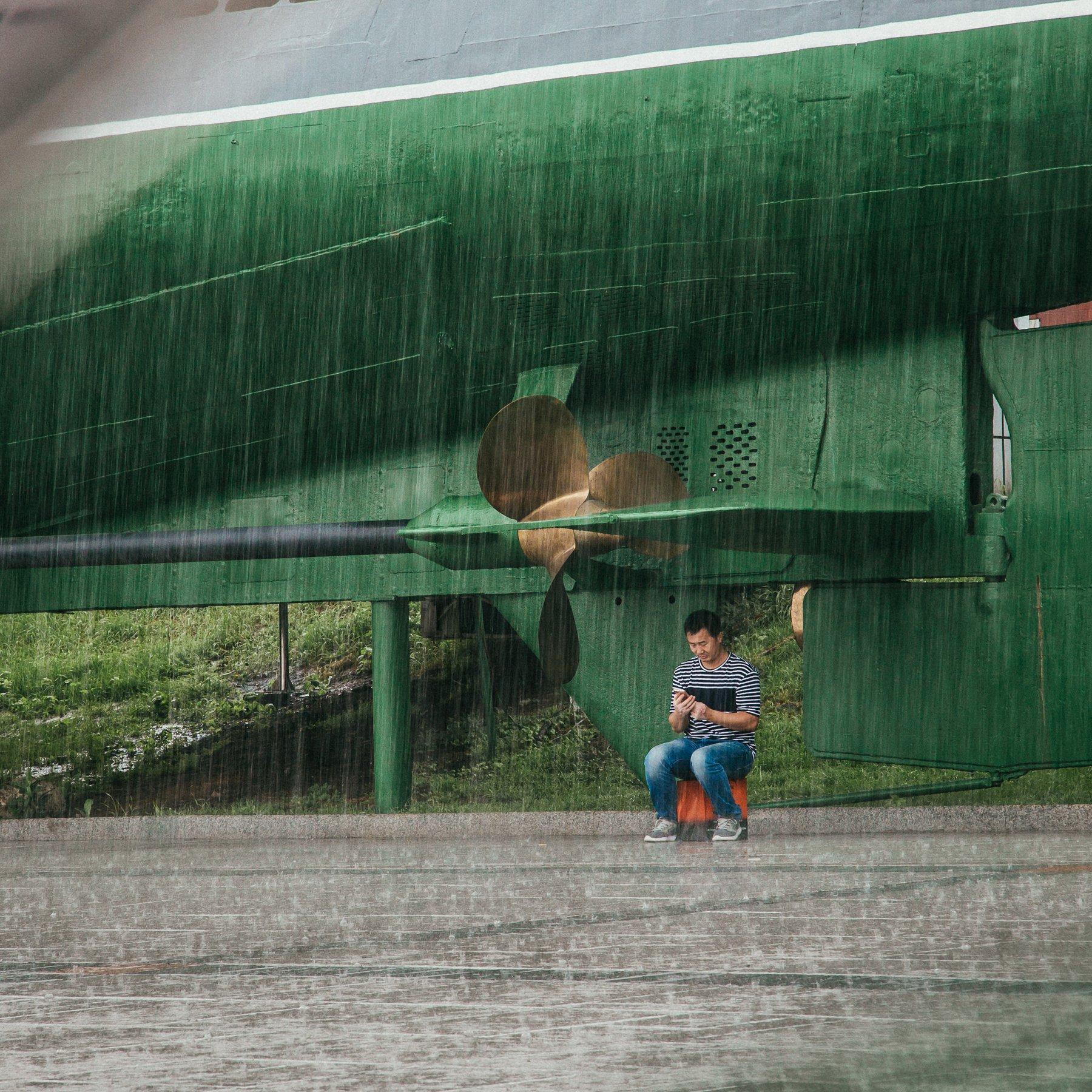 владивосток,город, дождь, подводная лодка, непогода, улица, Антон Блохин