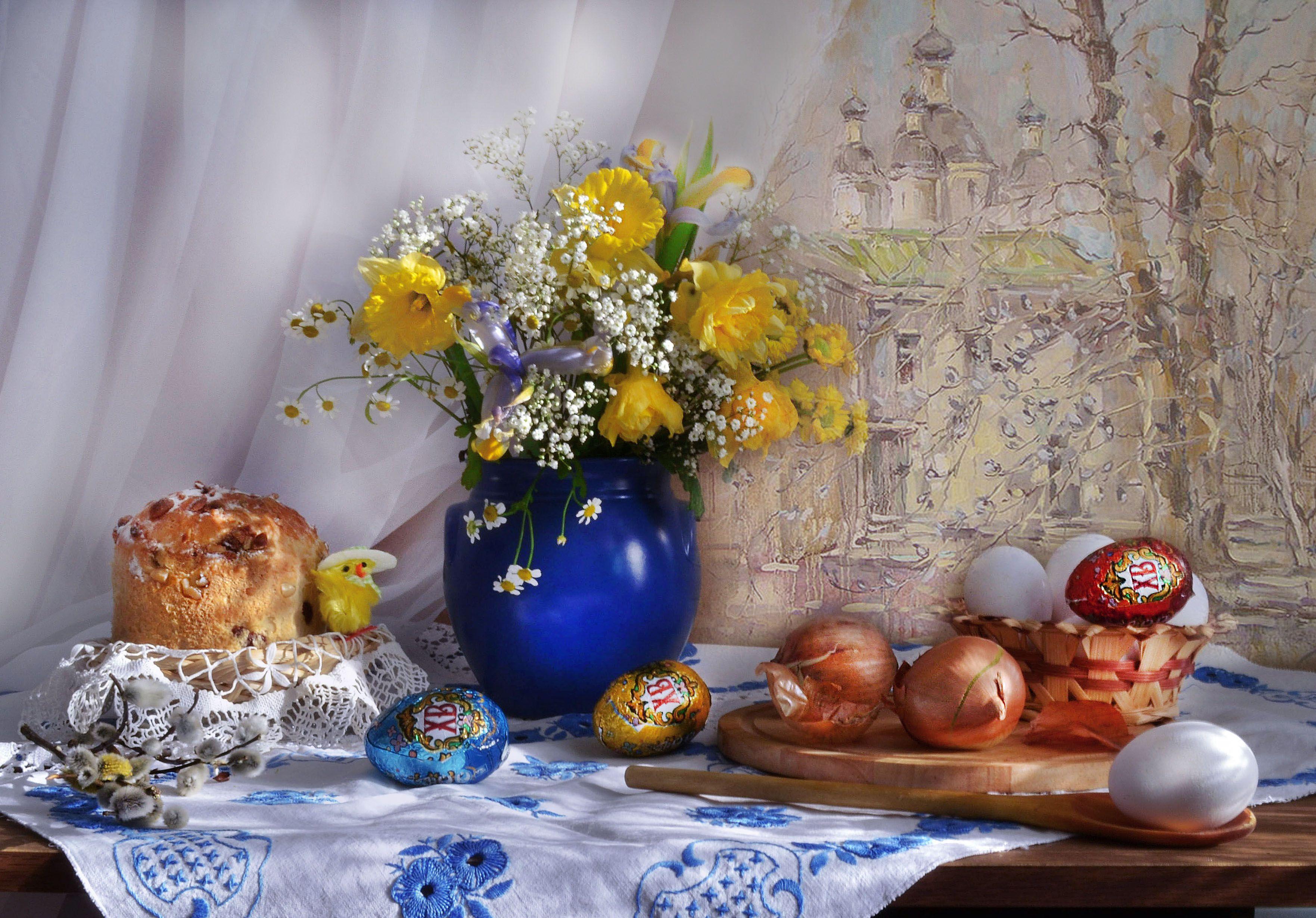 still life, натюрморт, апрель, букет, верба, весна, ирисы, крашенки, кулич, лук, нарциссы, цветы, чистый четверг,картина, маслом, чарина анна. вербное воскресение. двор на самокатной., Колова Валентина