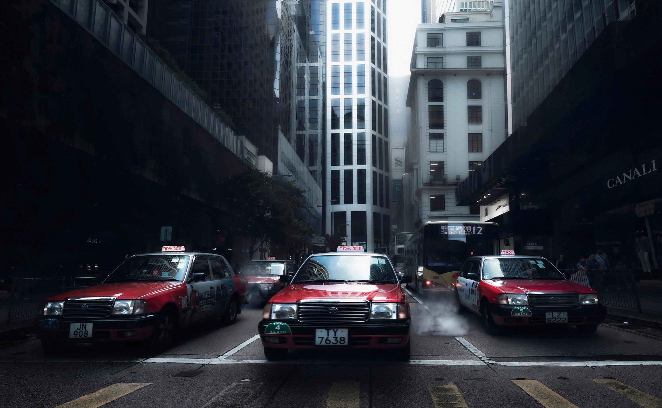 город, архитектура, стрит, такси, гонконг, азия, Алексей Ермаков