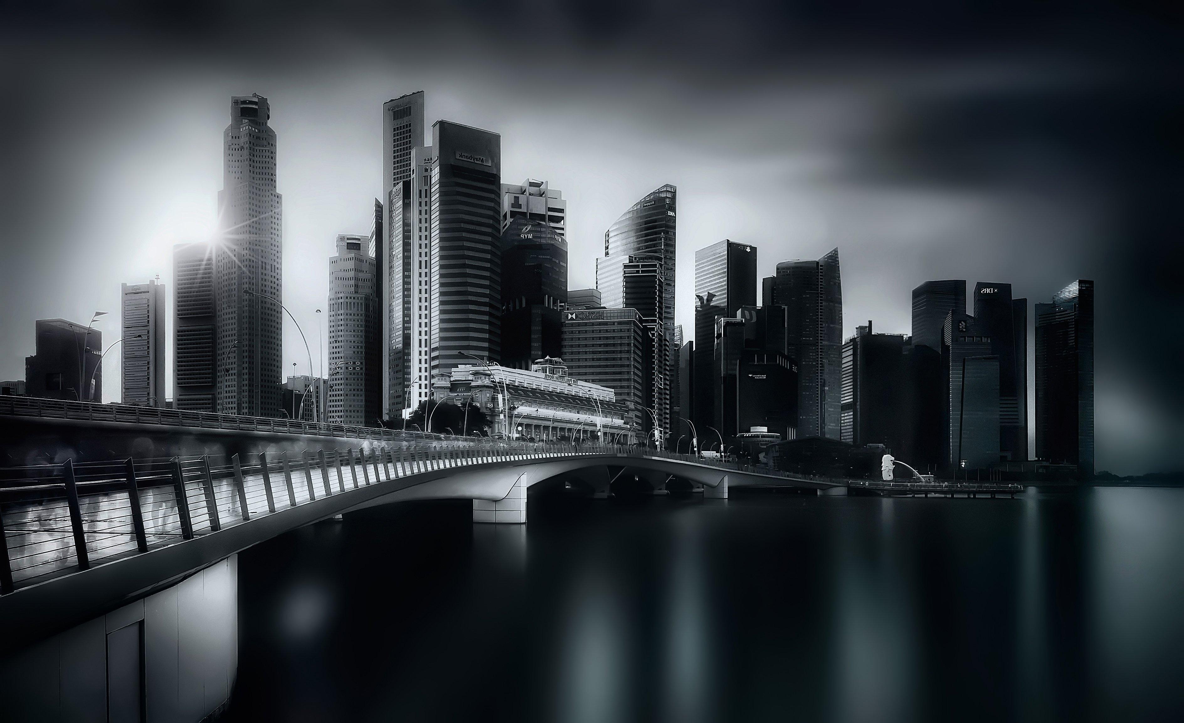 город, архитектура, закат, чб, мост, длинная выдержка, Алексей Ермаков